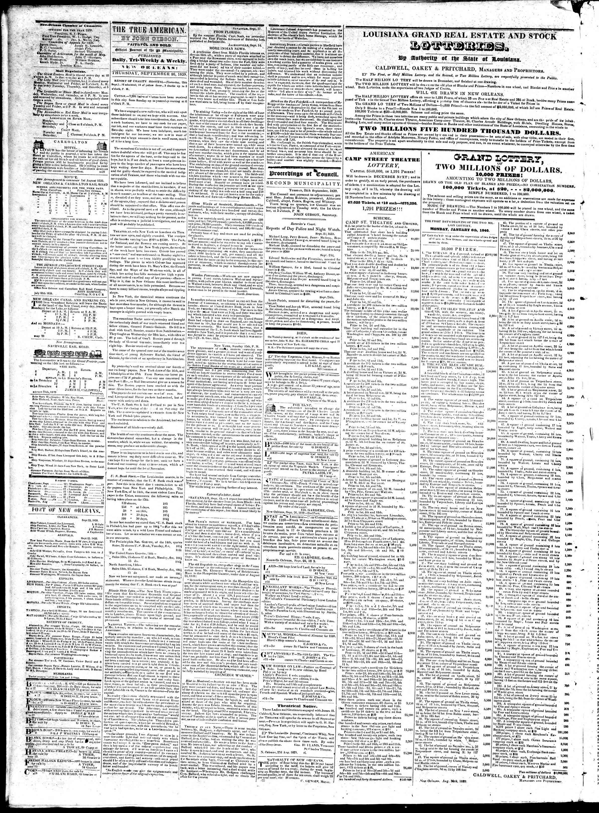 September 26, 1839 Tarihli True American Gazetesi Sayfa 2