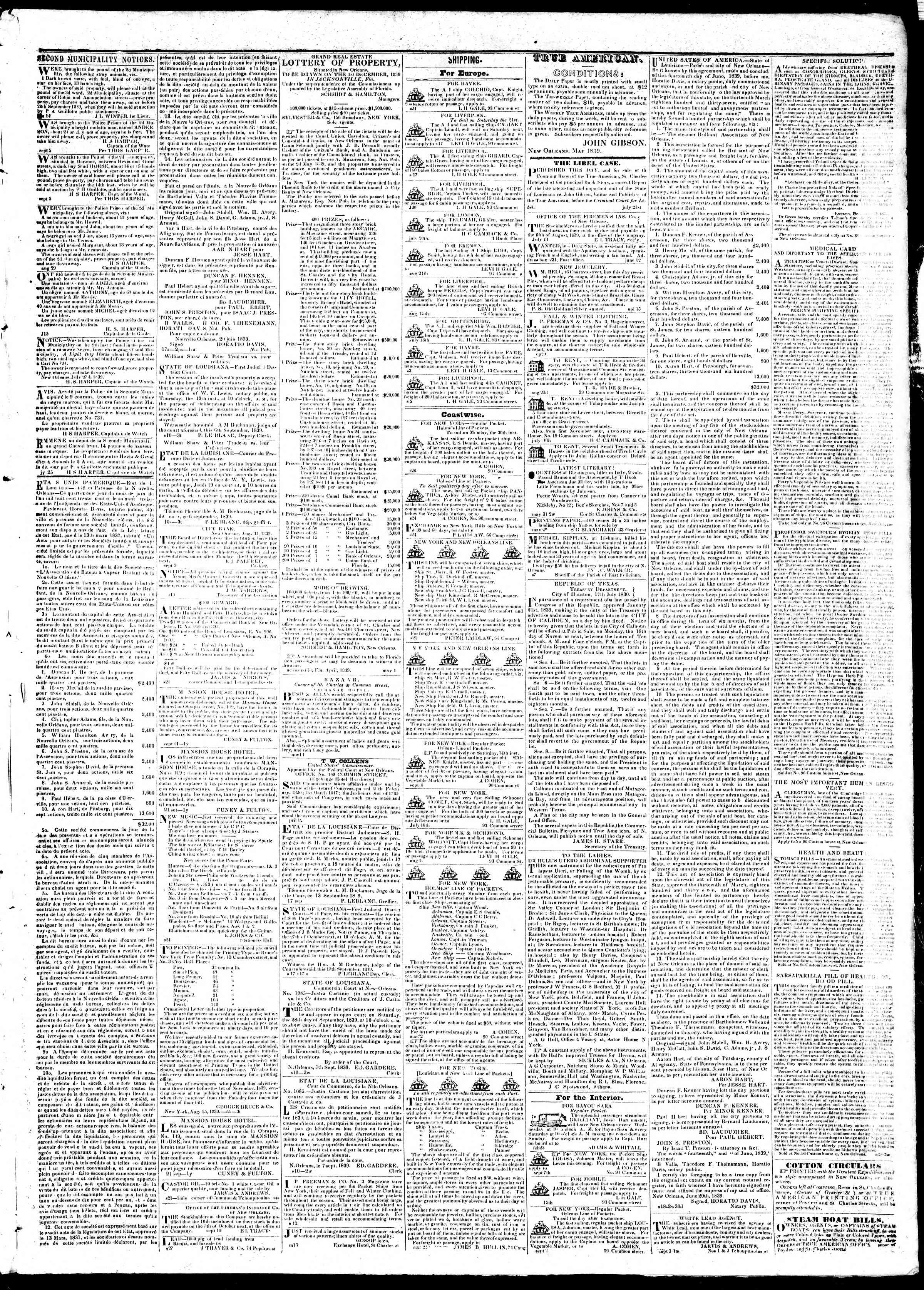 Newspaper of True American dated September 26, 1839 Page 3