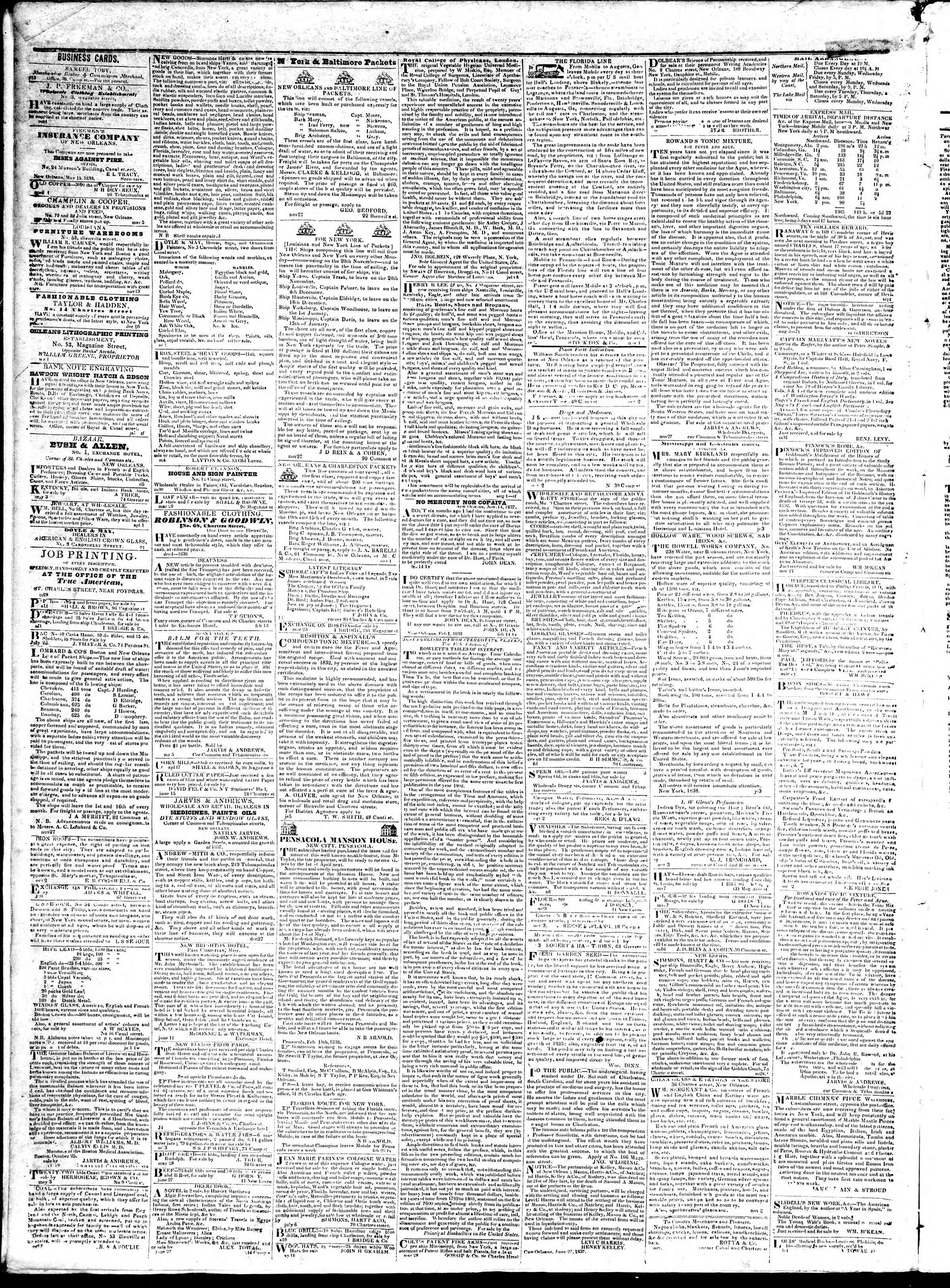 September 26, 1839 Tarihli True American Gazetesi Sayfa 4