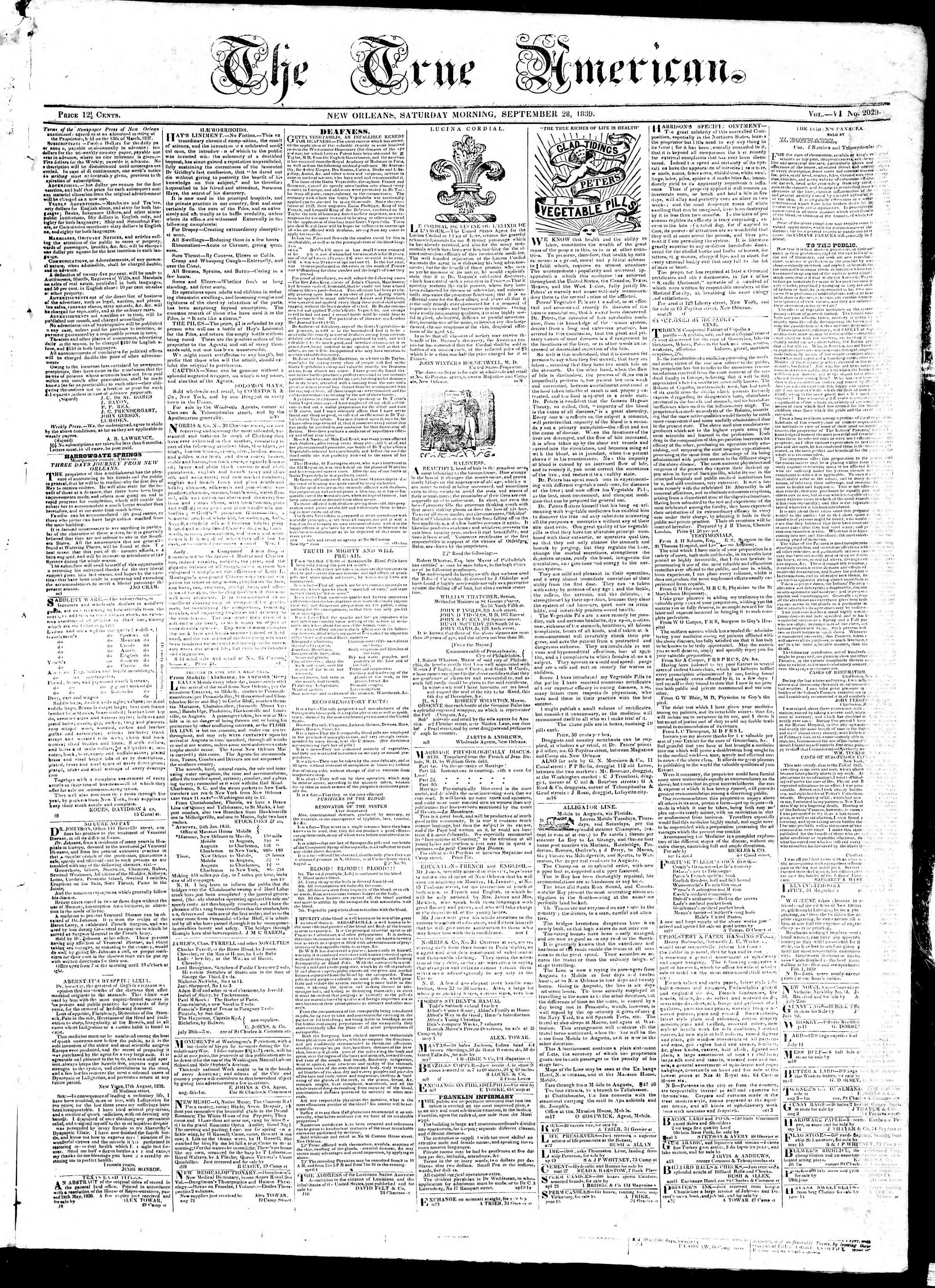 Newspaper of True American dated September 28, 1839 Page 1
