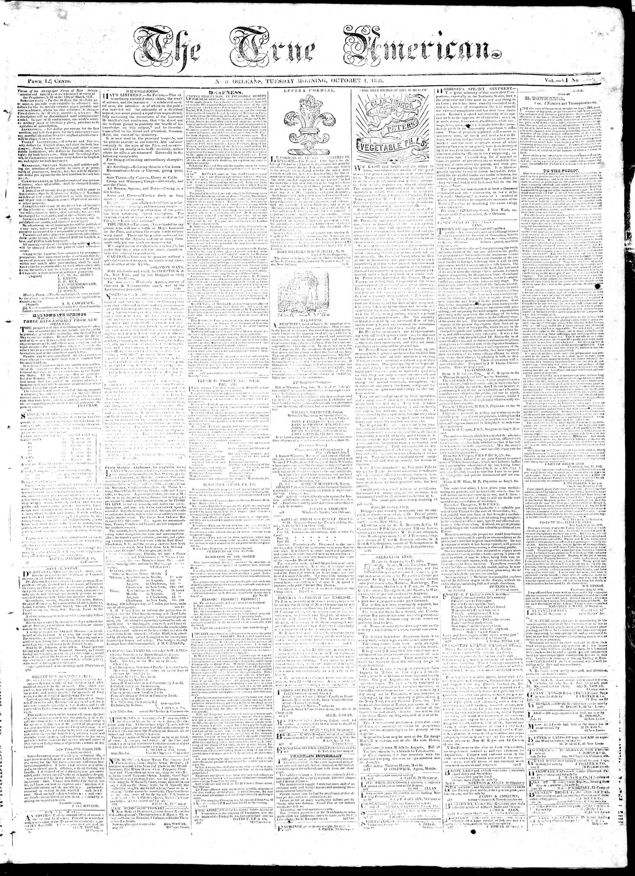 October 1, 1839 Tarihli True American Gazetesi Sayfa 1