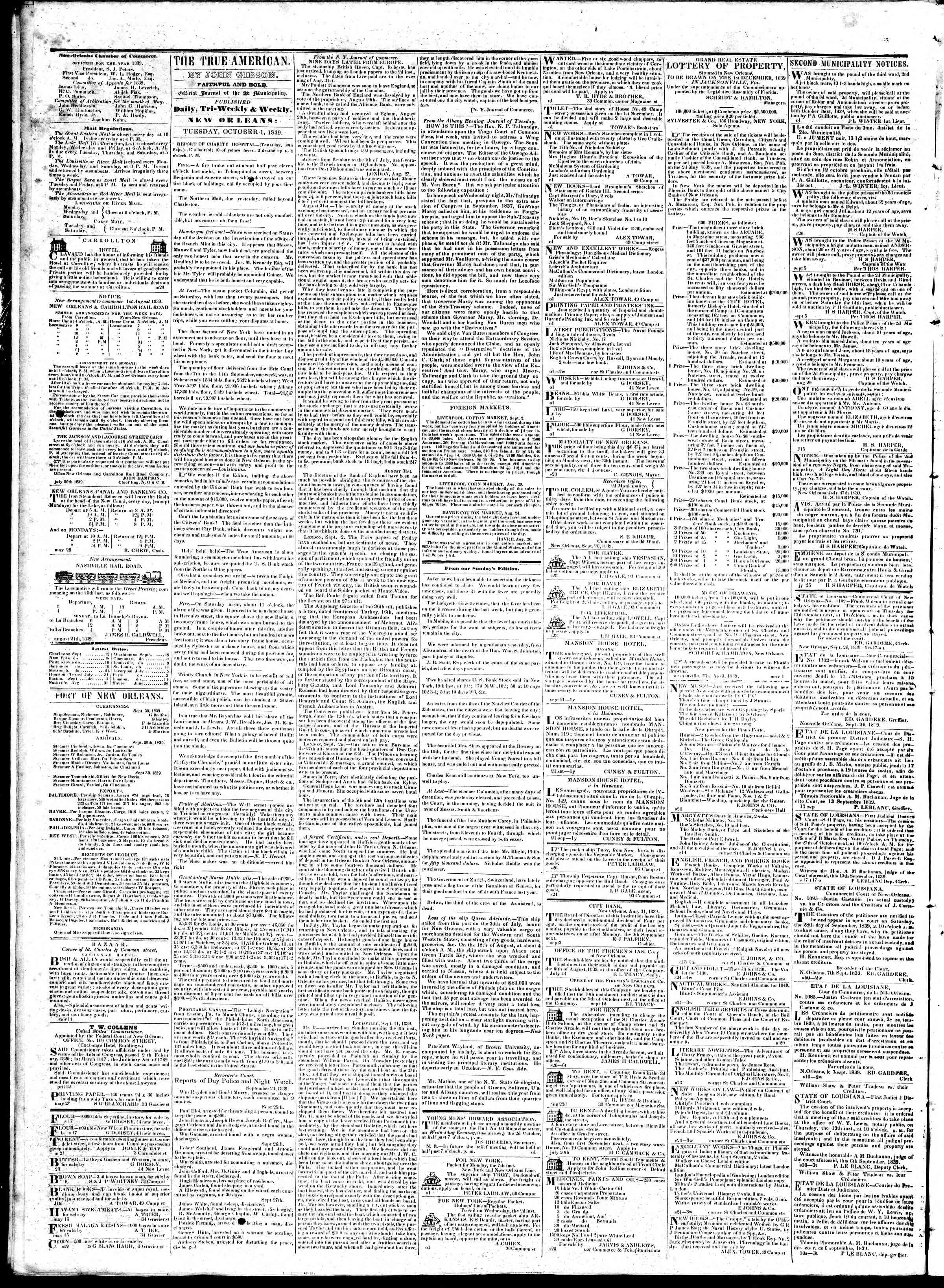 Newspaper of True American dated October 1, 1839 Page 2