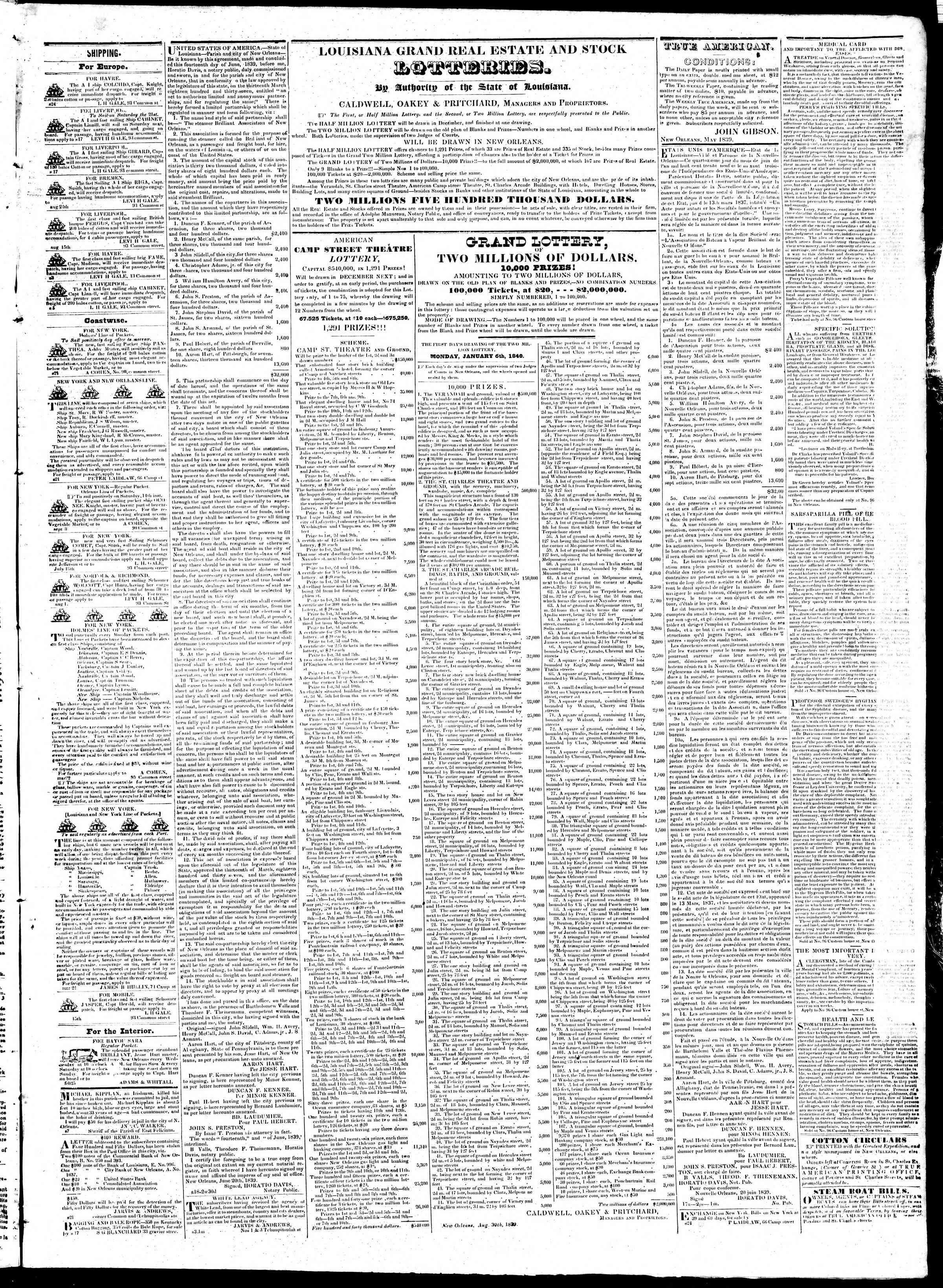 October 1, 1839 Tarihli True American Gazetesi Sayfa 3