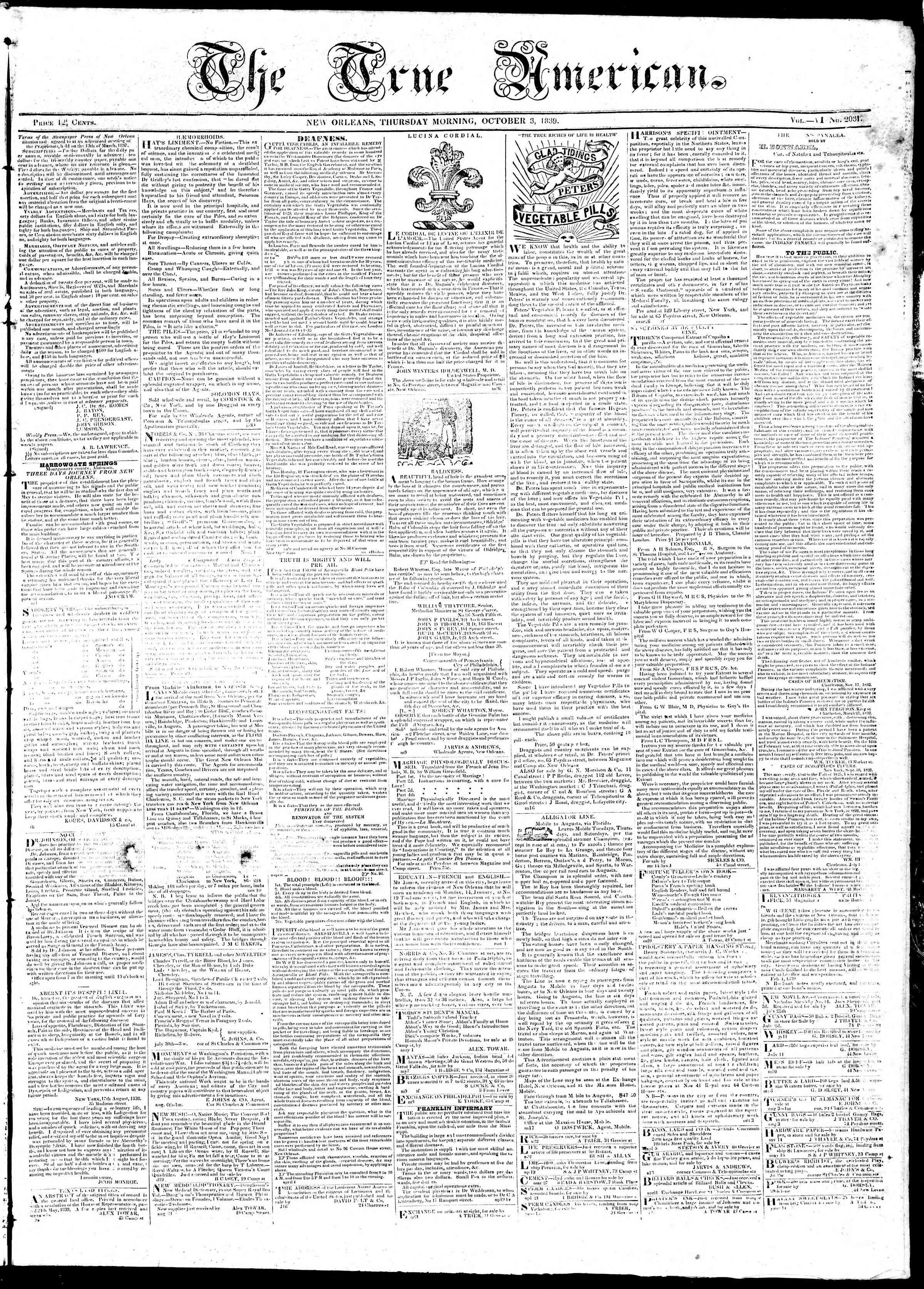 October 3, 1839 Tarihli True American Gazetesi Sayfa 1