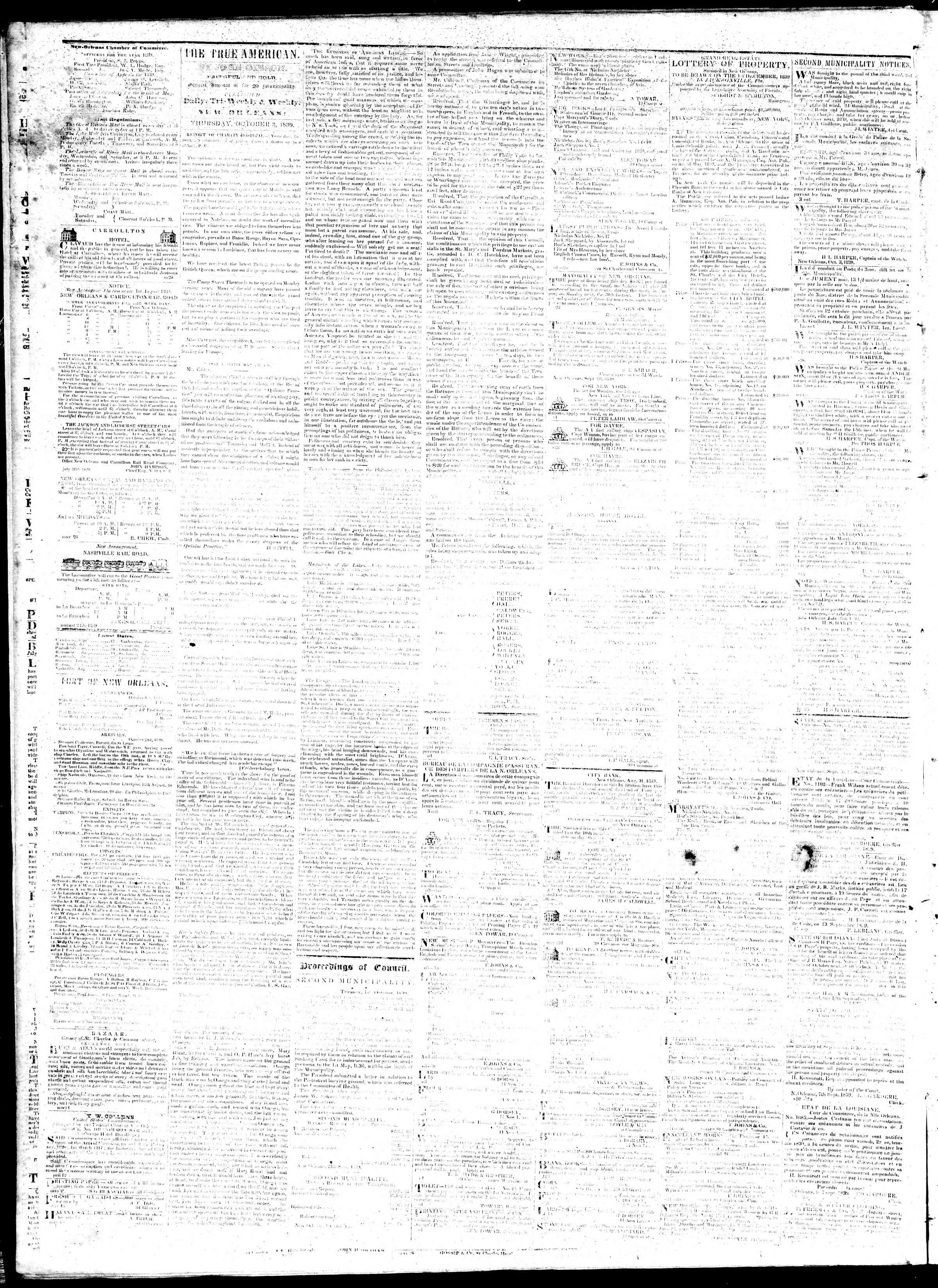 Newspaper of True American dated October 3, 1839 Page 2