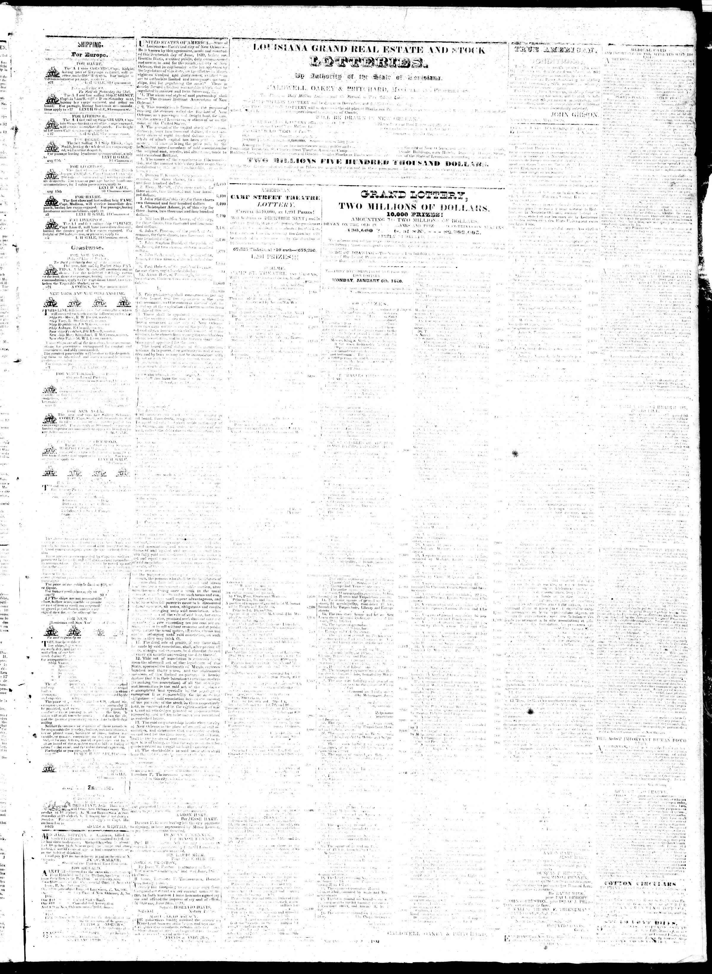 October 3, 1839 Tarihli True American Gazetesi Sayfa 3