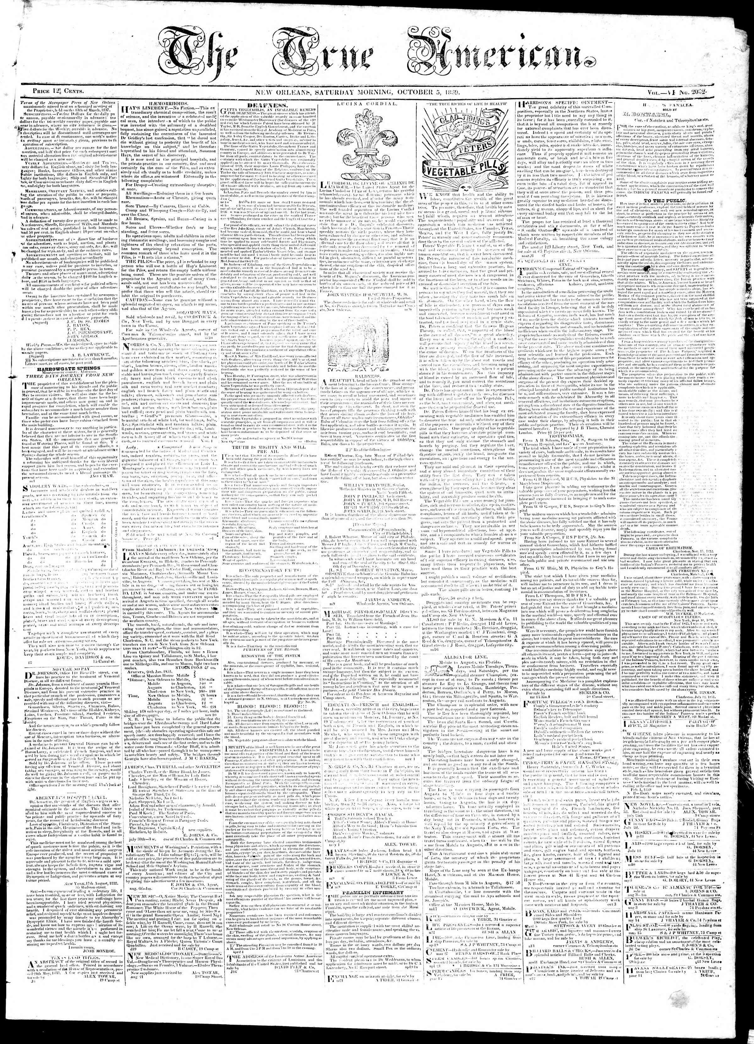 October 5, 1839 Tarihli True American Gazetesi Sayfa 1
