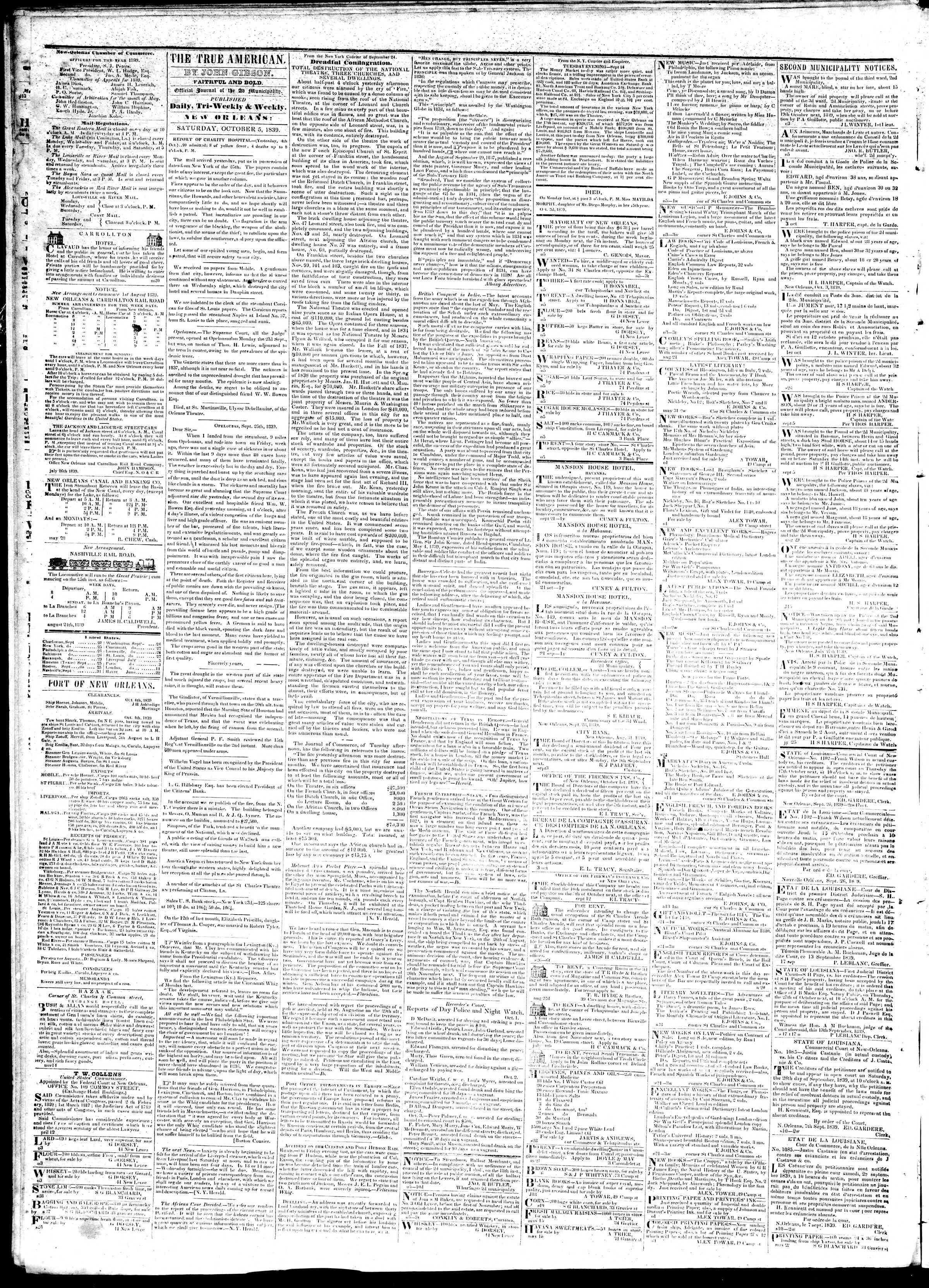 5 Ekim 1839 tarihli True American Gazetesi Sayfa 2