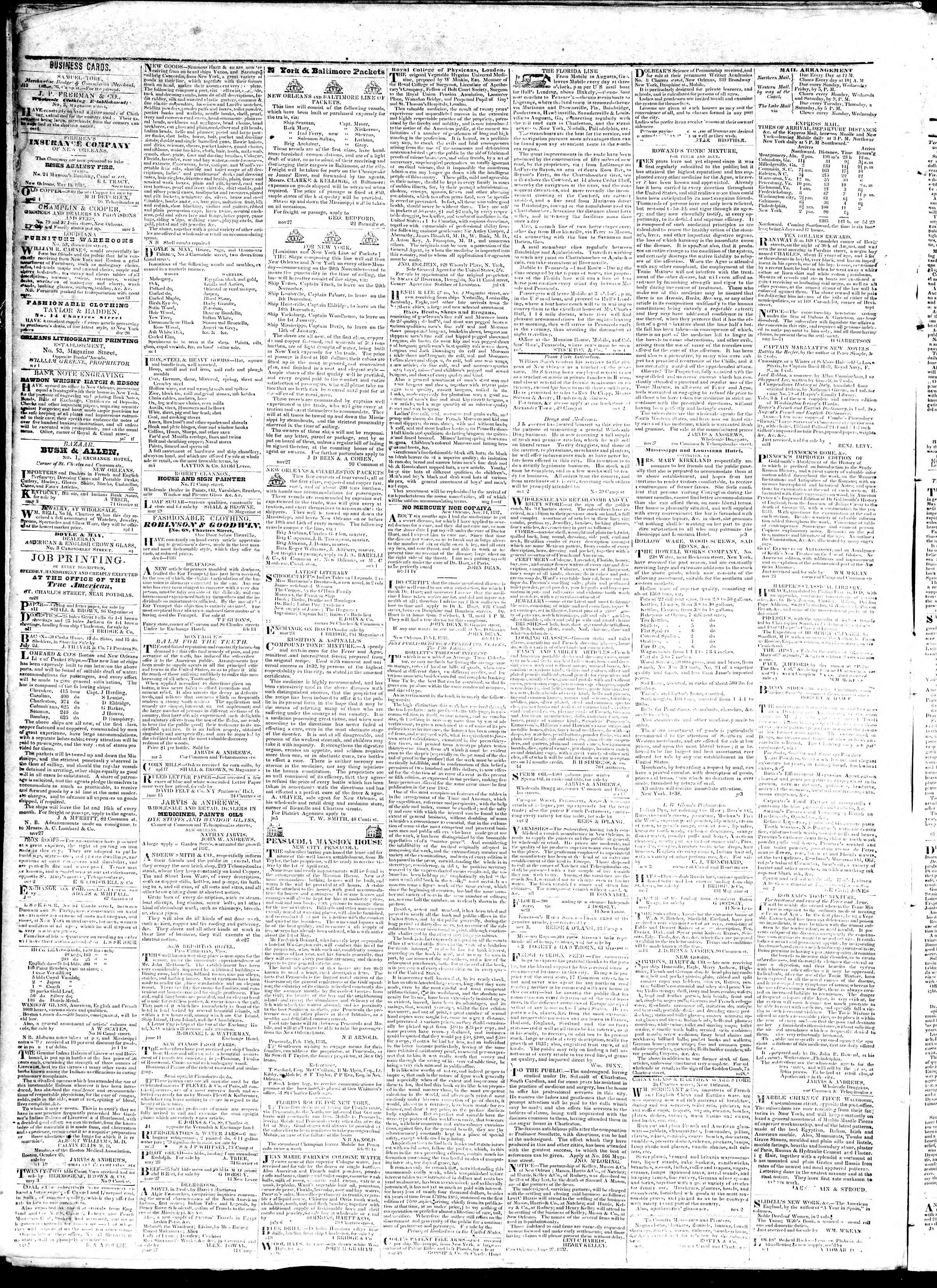 October 5, 1839 Tarihli True American Gazetesi Sayfa 4