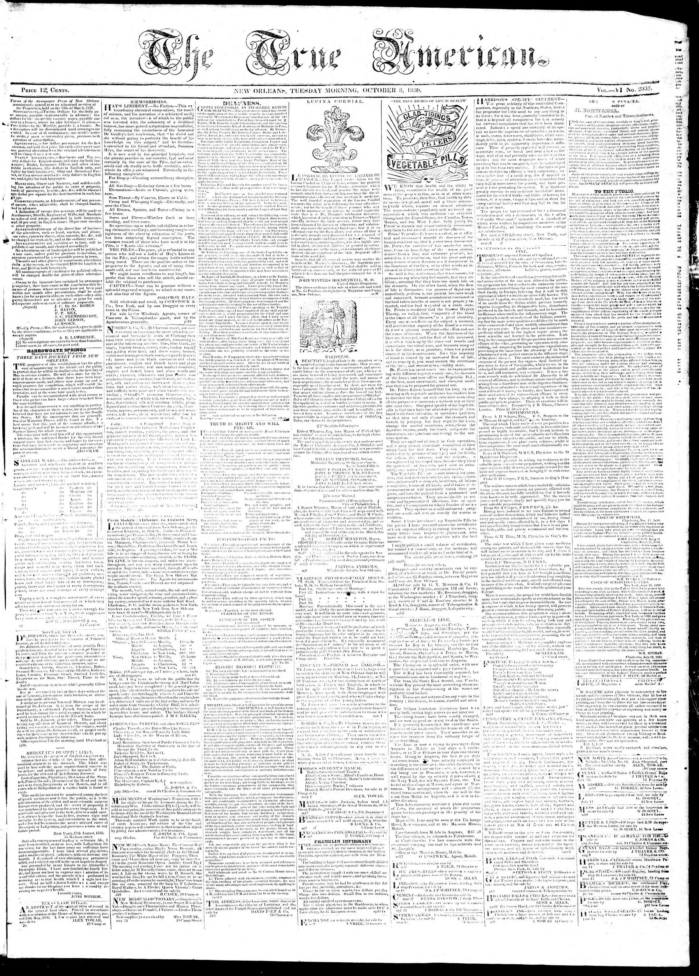 October 8, 1839 Tarihli True American Gazetesi Sayfa 1
