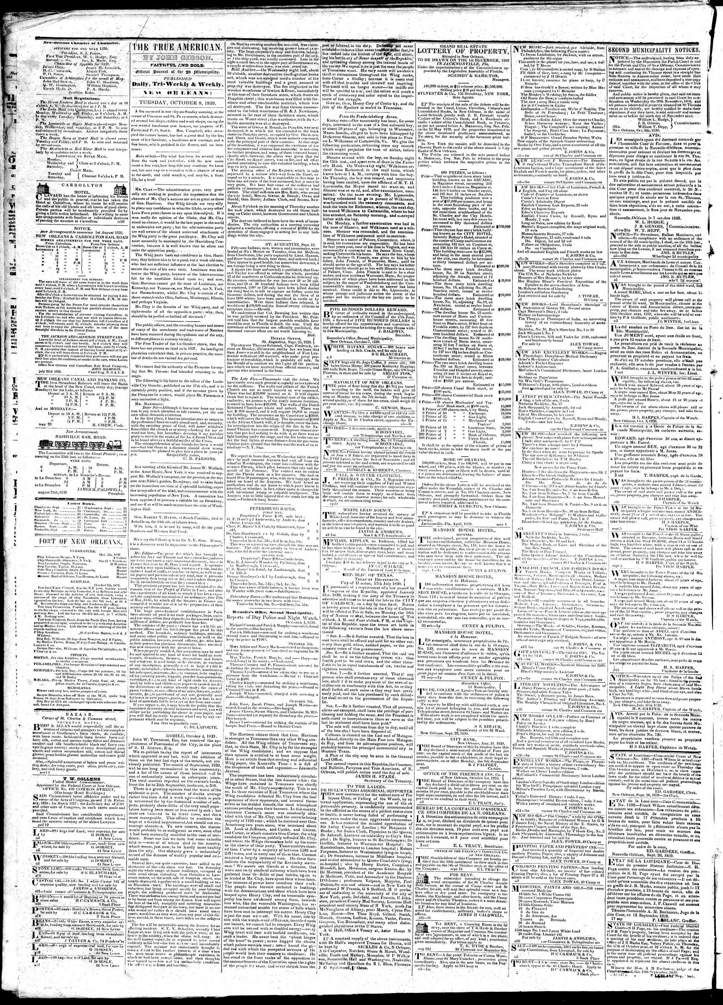 October 8, 1839 Tarihli True American Gazetesi Sayfa 2