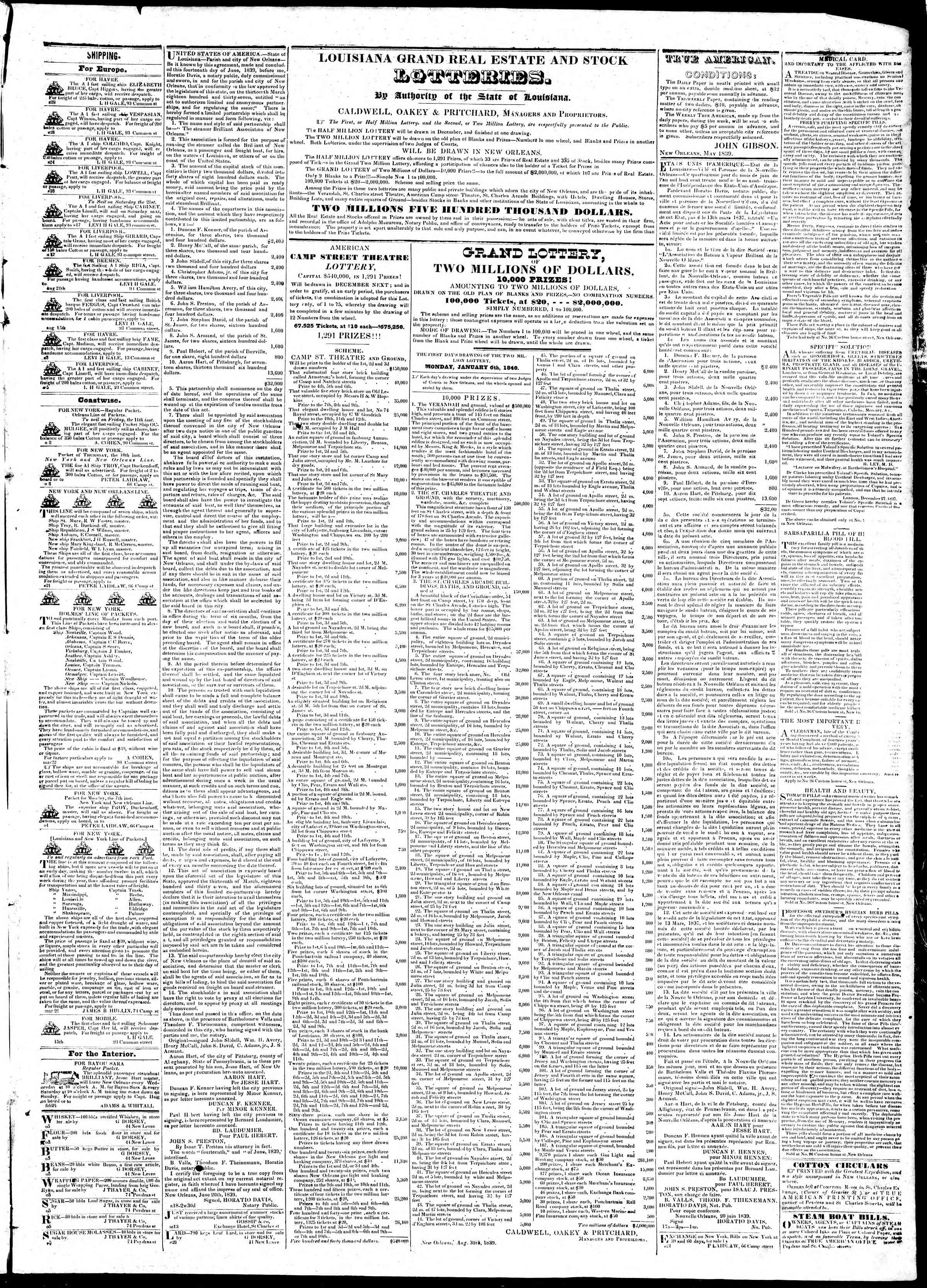 Newspaper of True American dated October 8, 1839 Page 3