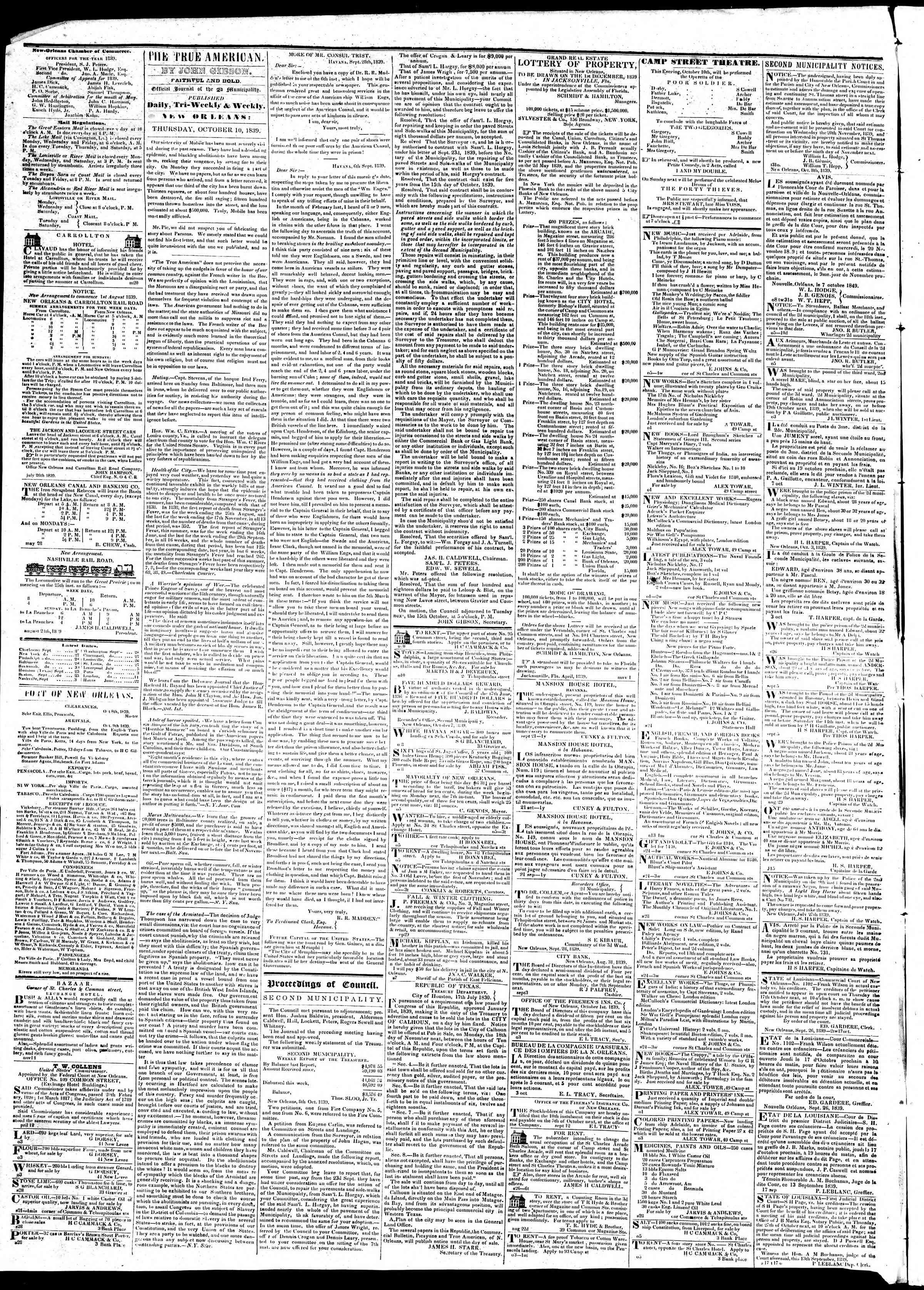 October 10, 1839 Tarihli True American Gazetesi Sayfa 2