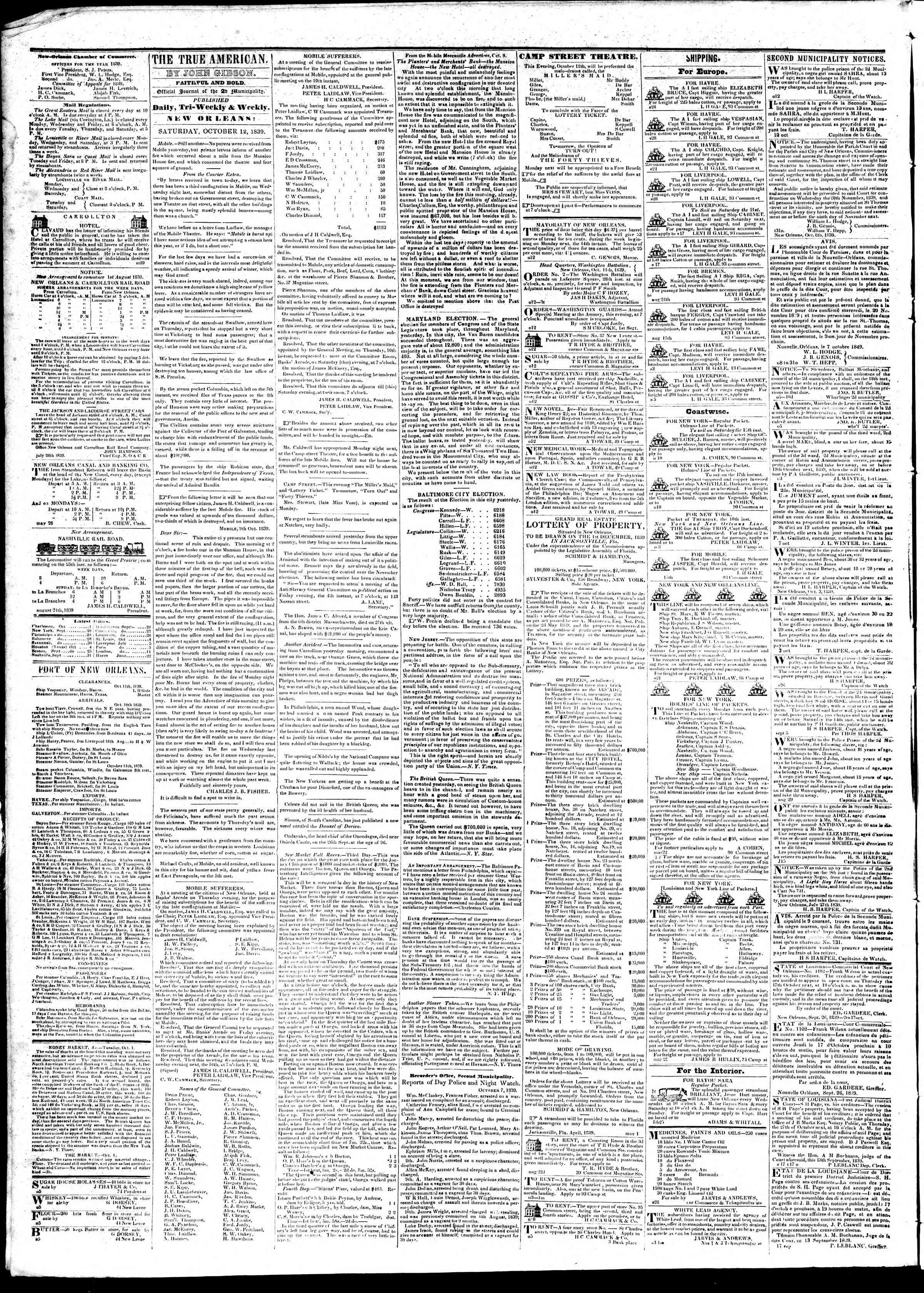 12 Ekim 1839 Tarihli True American Gazetesi Sayfa 2