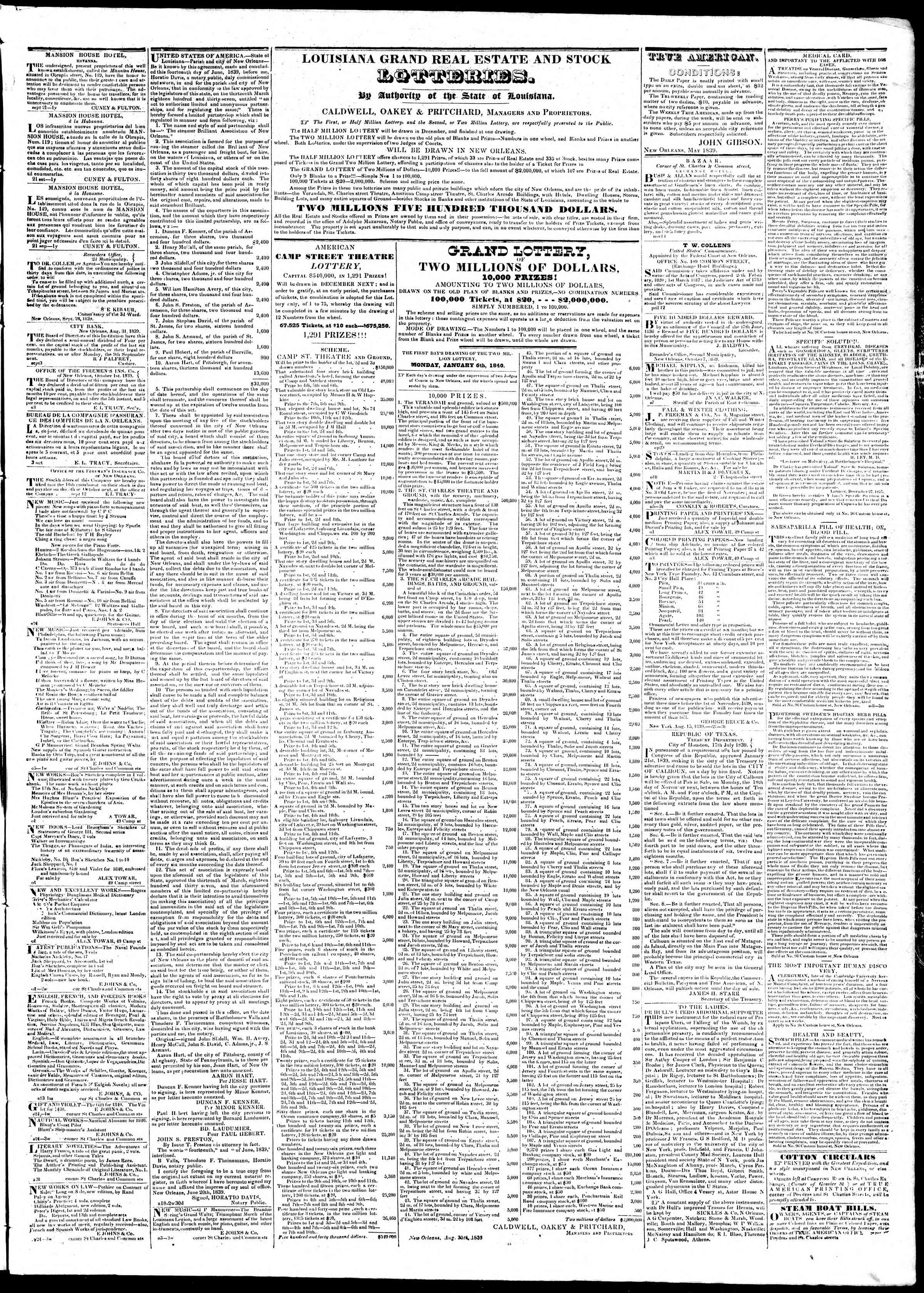 Newspaper of True American dated October 12, 1839 Page 3
