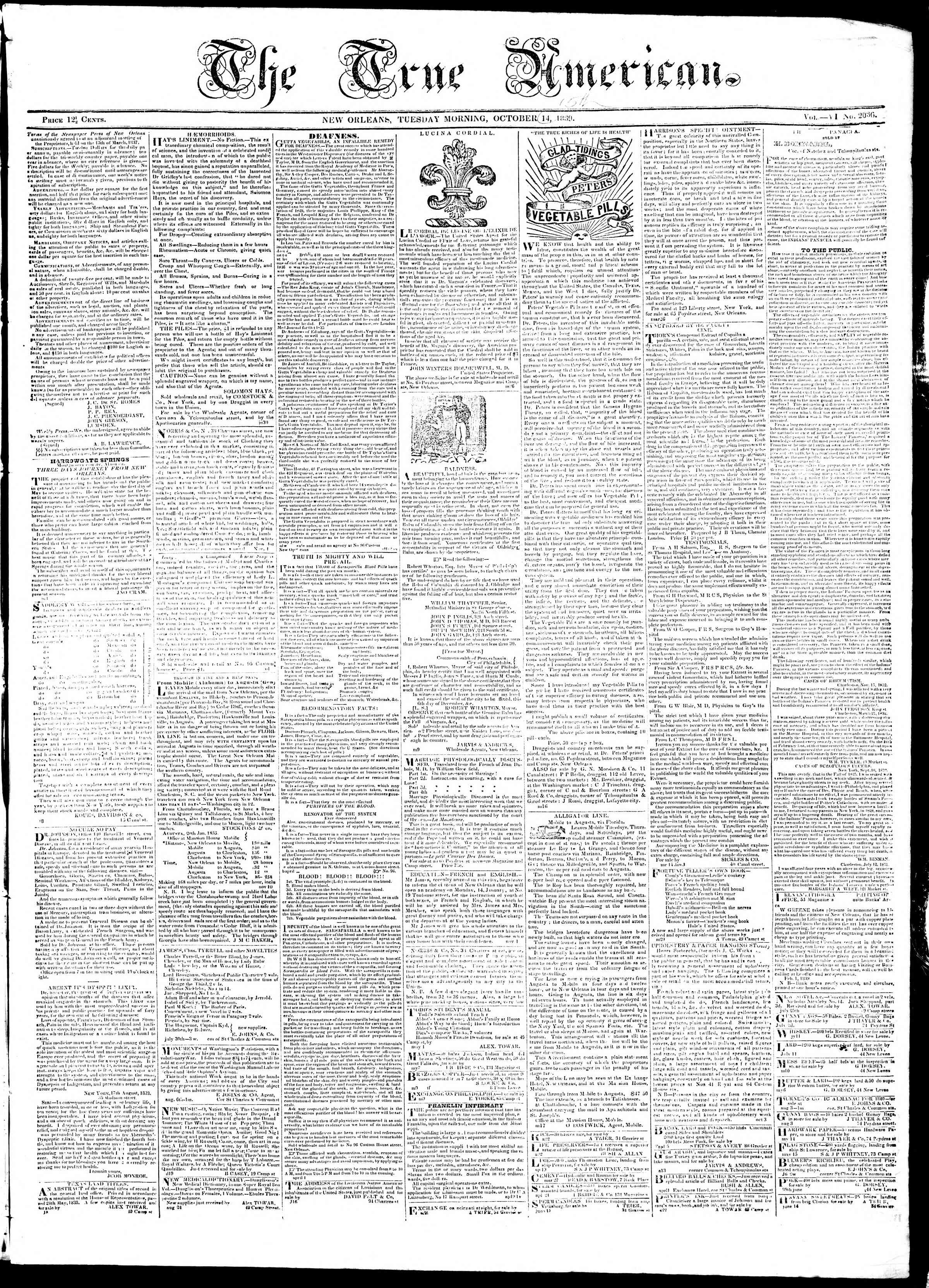 Newspaper of True American dated October 14, 1839 Page 1