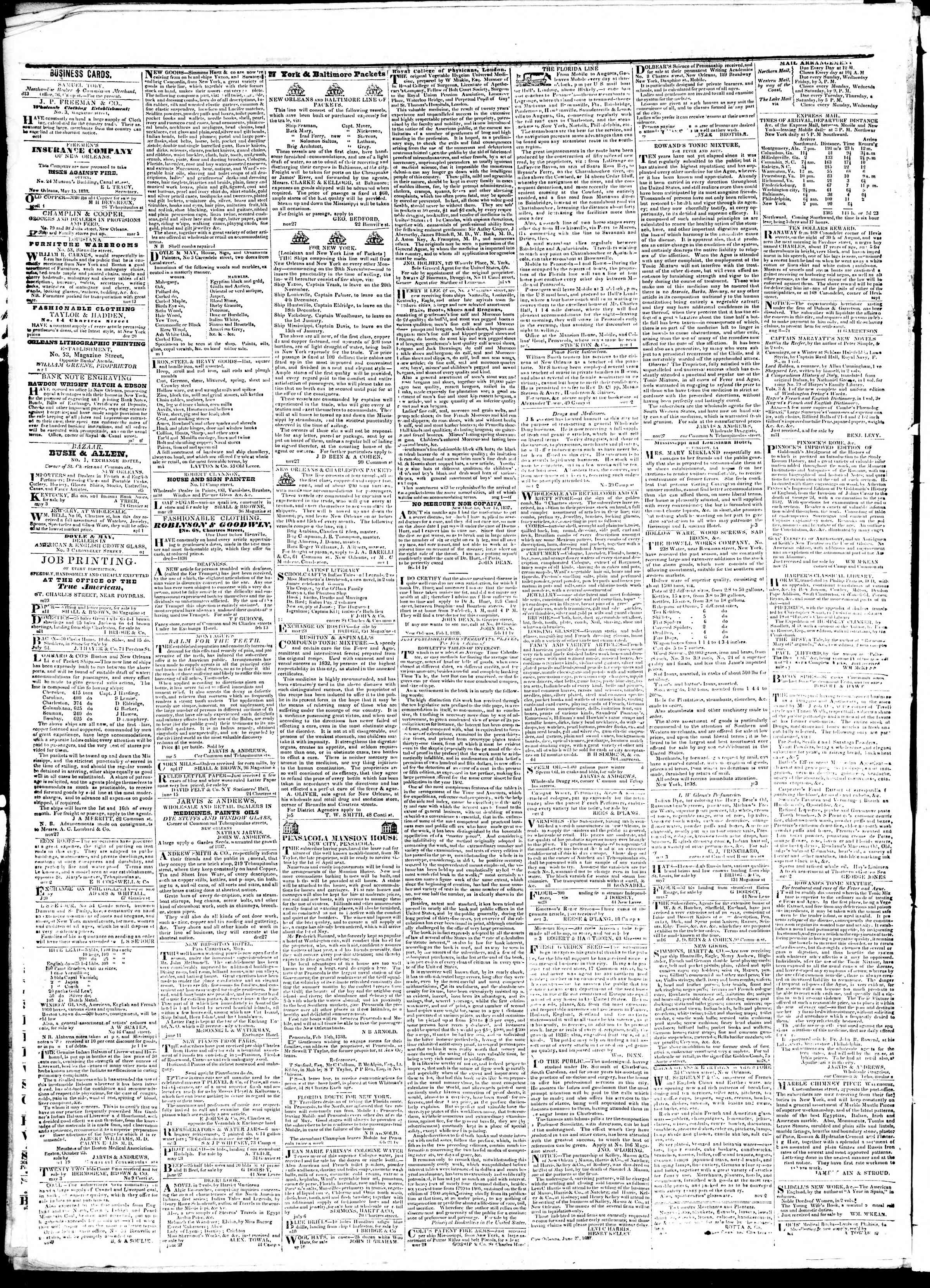 Newspaper of True American dated 14 Ekim 1839 Page 4