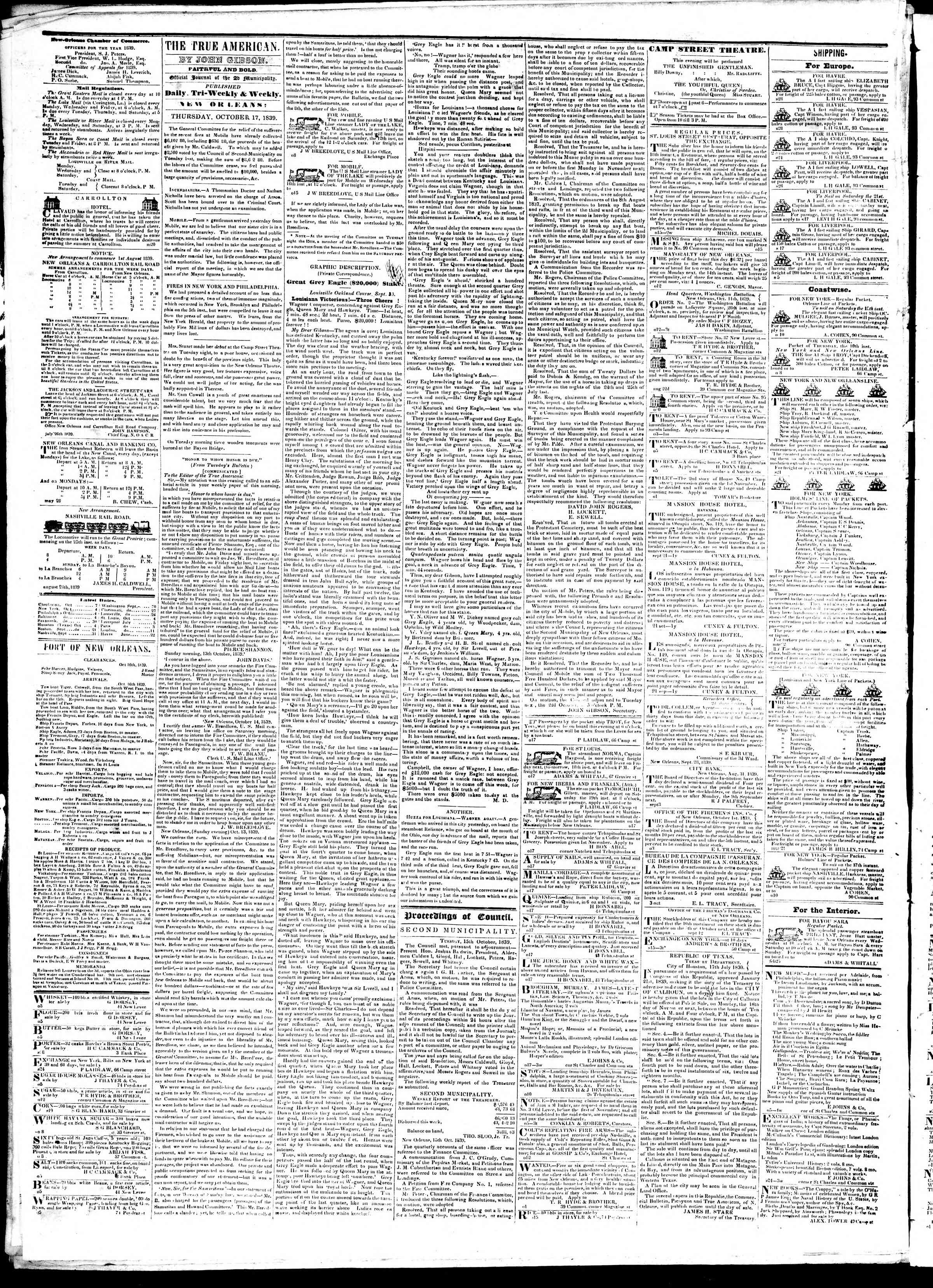 Newspaper of True American dated October 17, 1839 Page 2