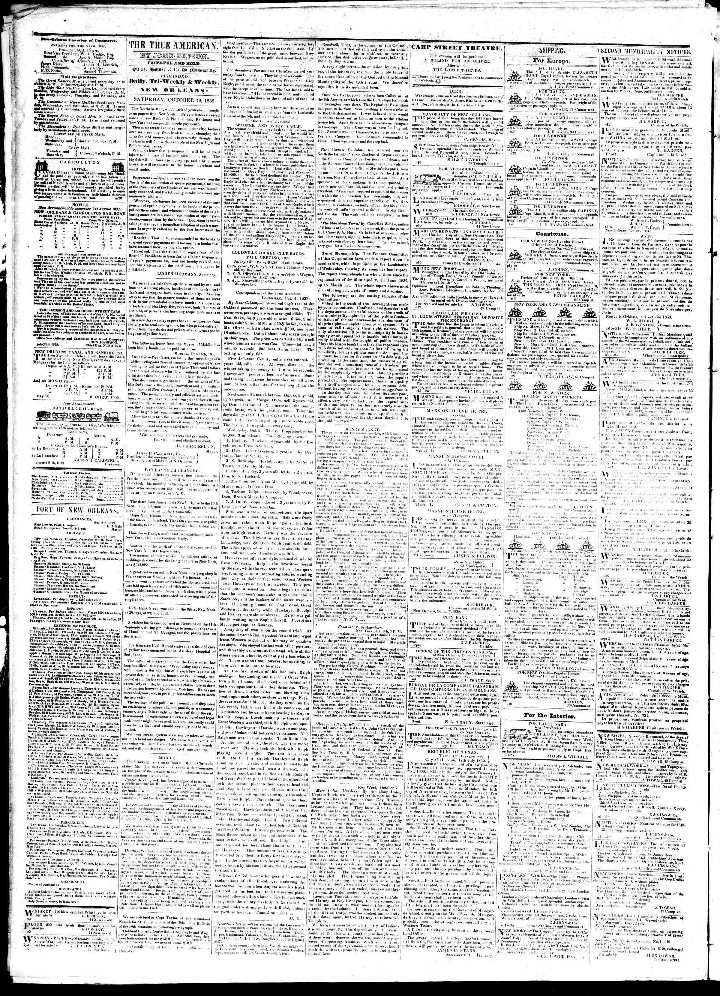 October 19, 1839 Tarihli True American Gazetesi Sayfa 2