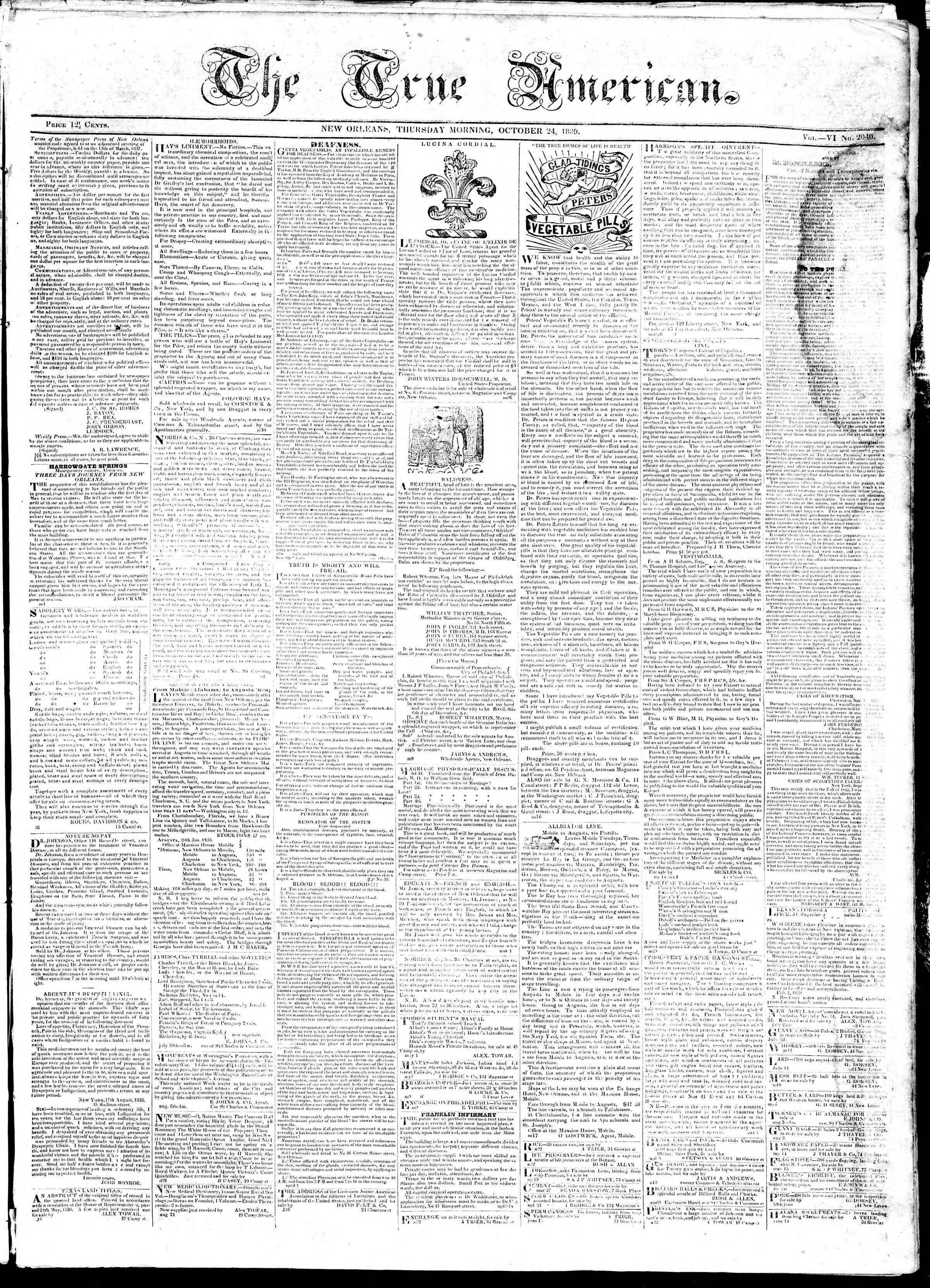 October 24, 1839 Tarihli True American Gazetesi Sayfa 1