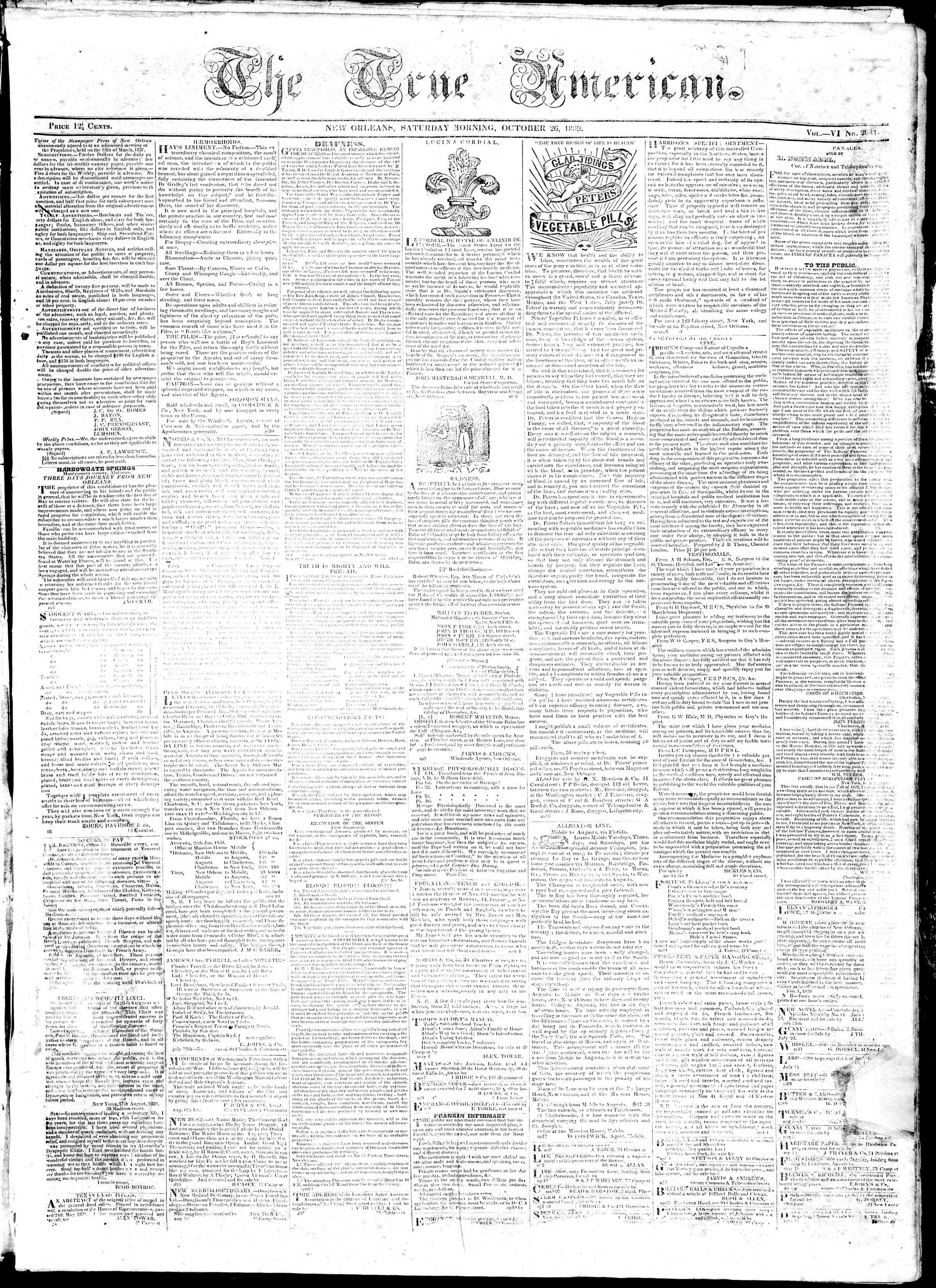 October 26, 1839 Tarihli True American Gazetesi Sayfa 1