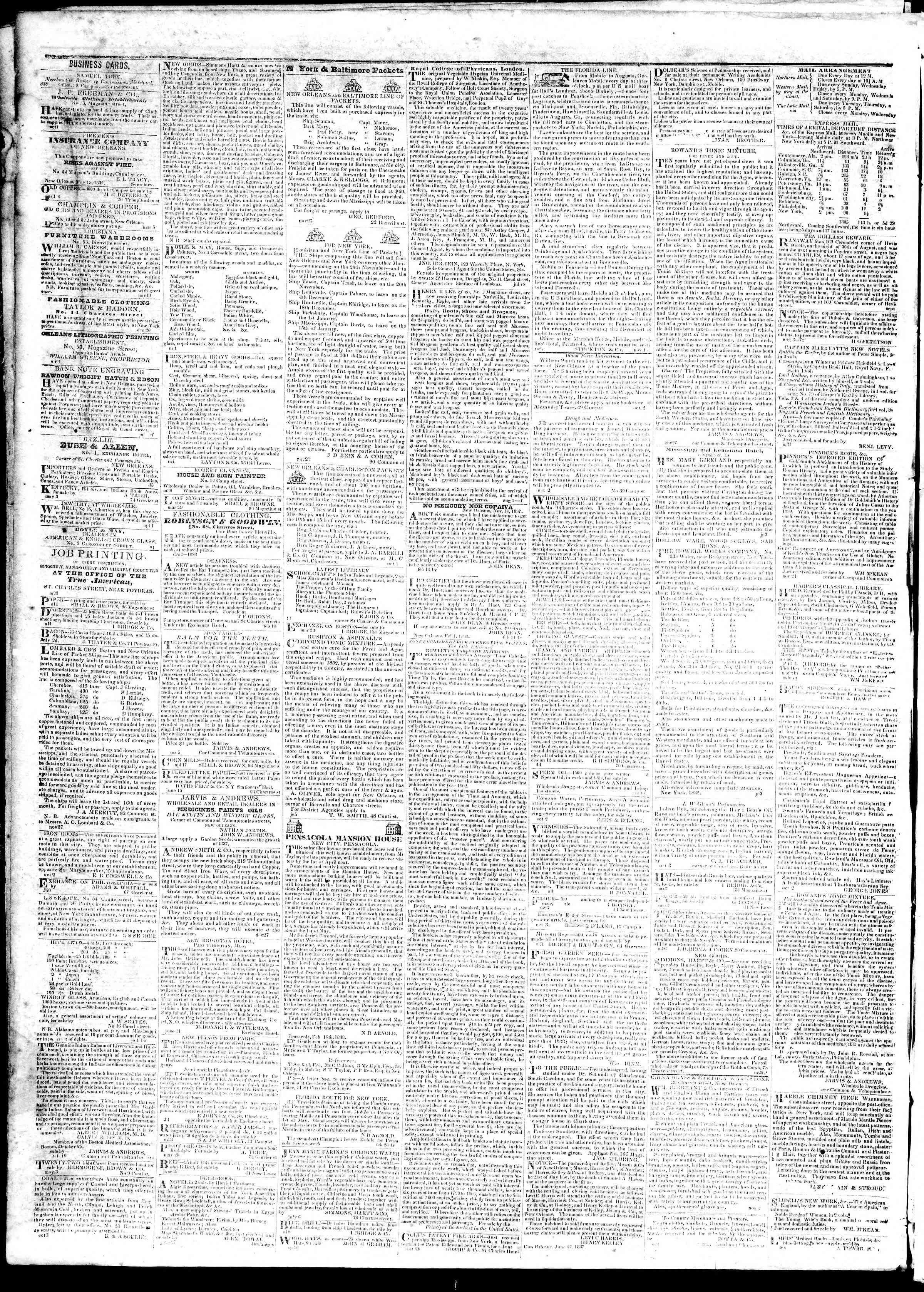 October 26, 1839 Tarihli True American Gazetesi Sayfa 4