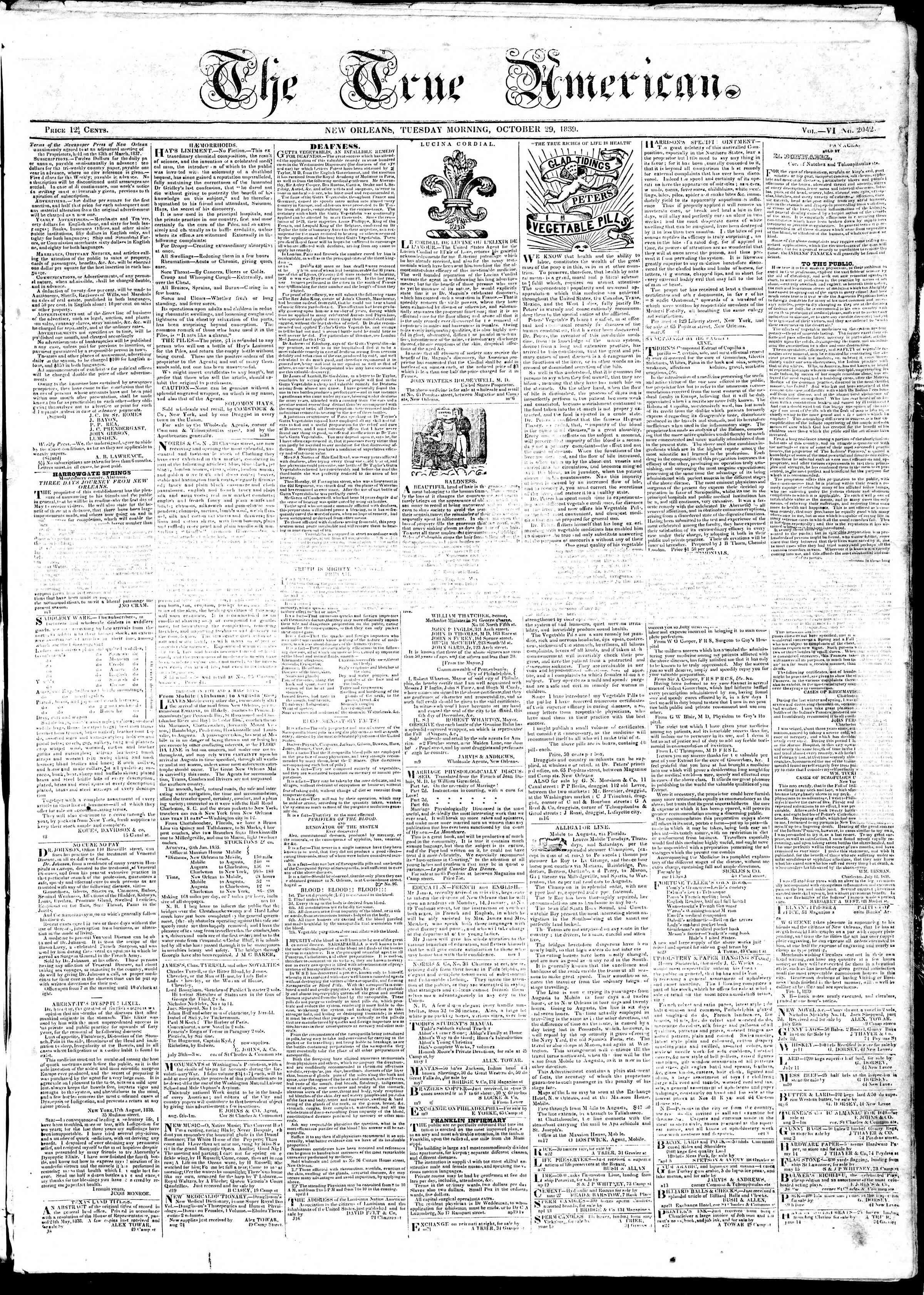 October 29, 1839 Tarihli True American Gazetesi Sayfa 1
