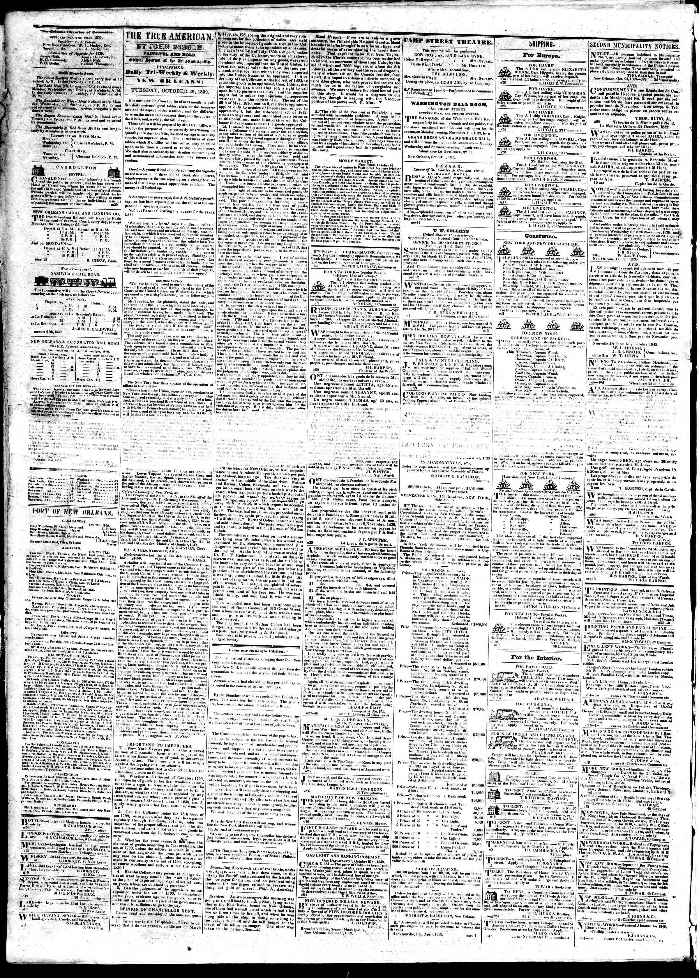 October 29, 1839 Tarihli True American Gazetesi Sayfa 2