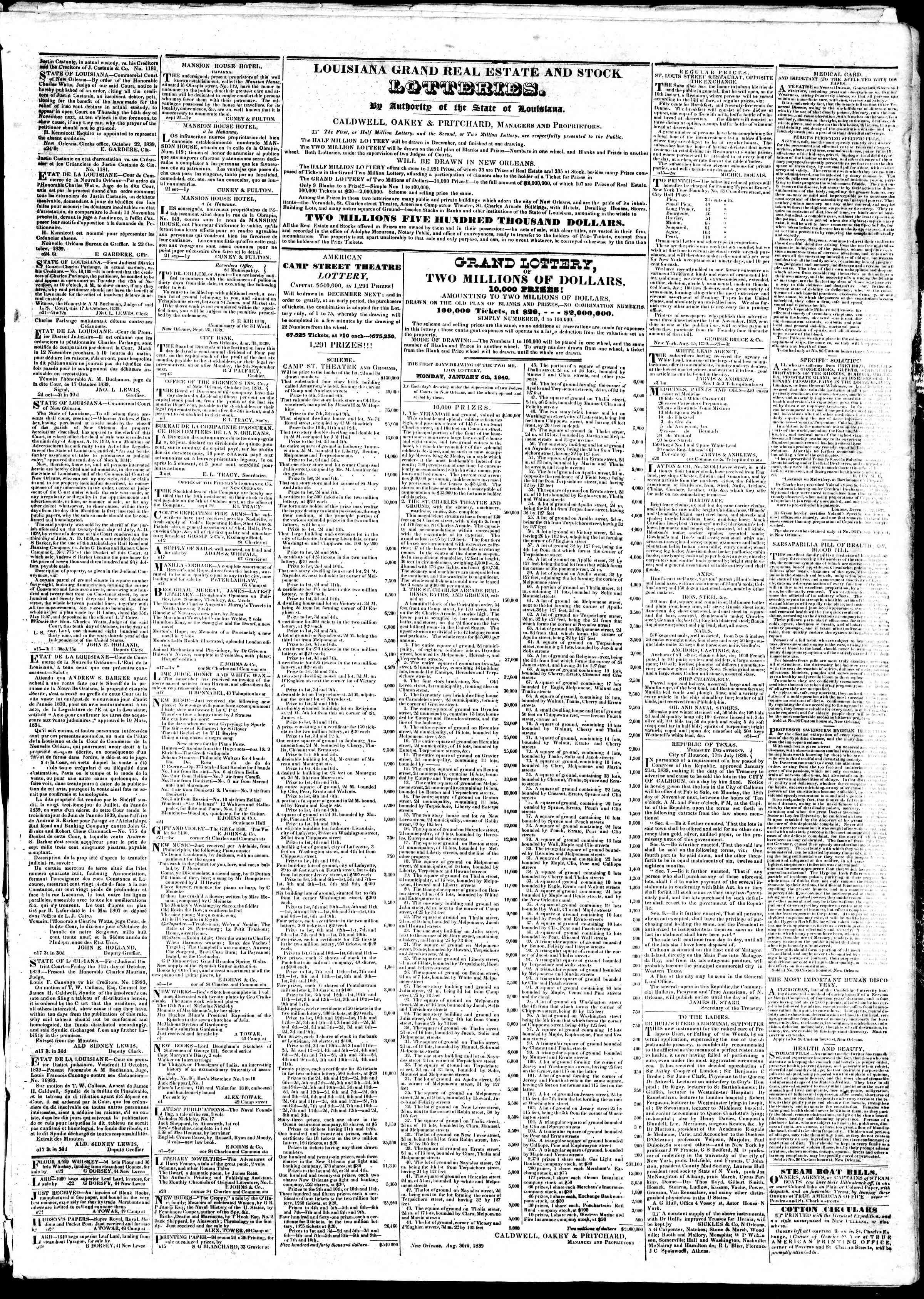 October 29, 1839 Tarihli True American Gazetesi Sayfa 3