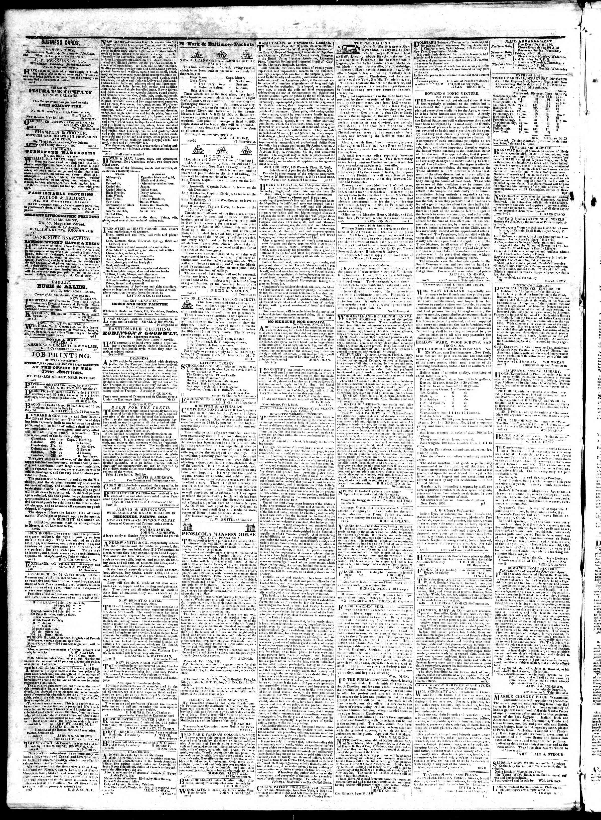 October 29, 1839 Tarihli True American Gazetesi Sayfa 4