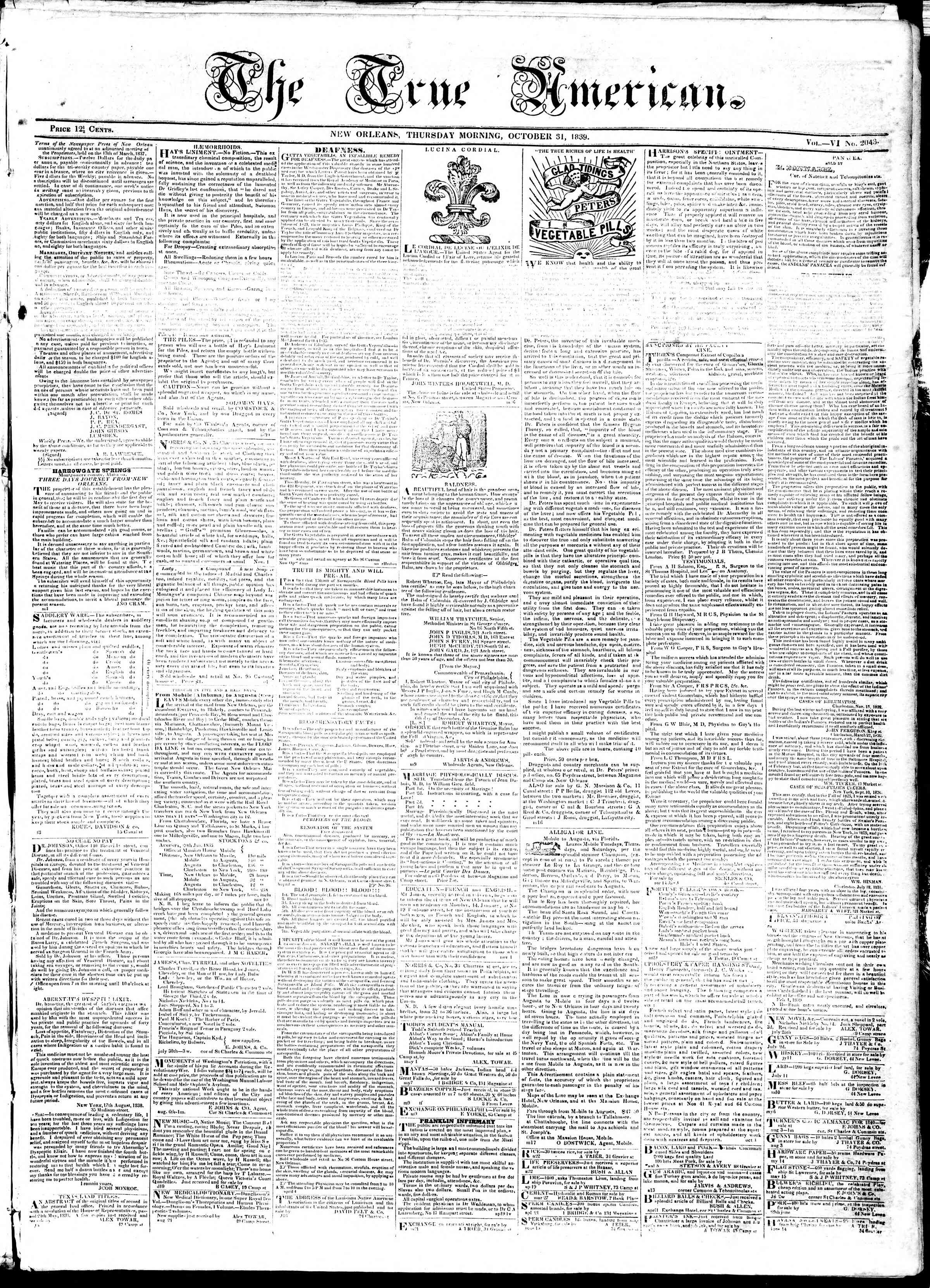 Newspaper of True American dated October 31, 1839 Page 1