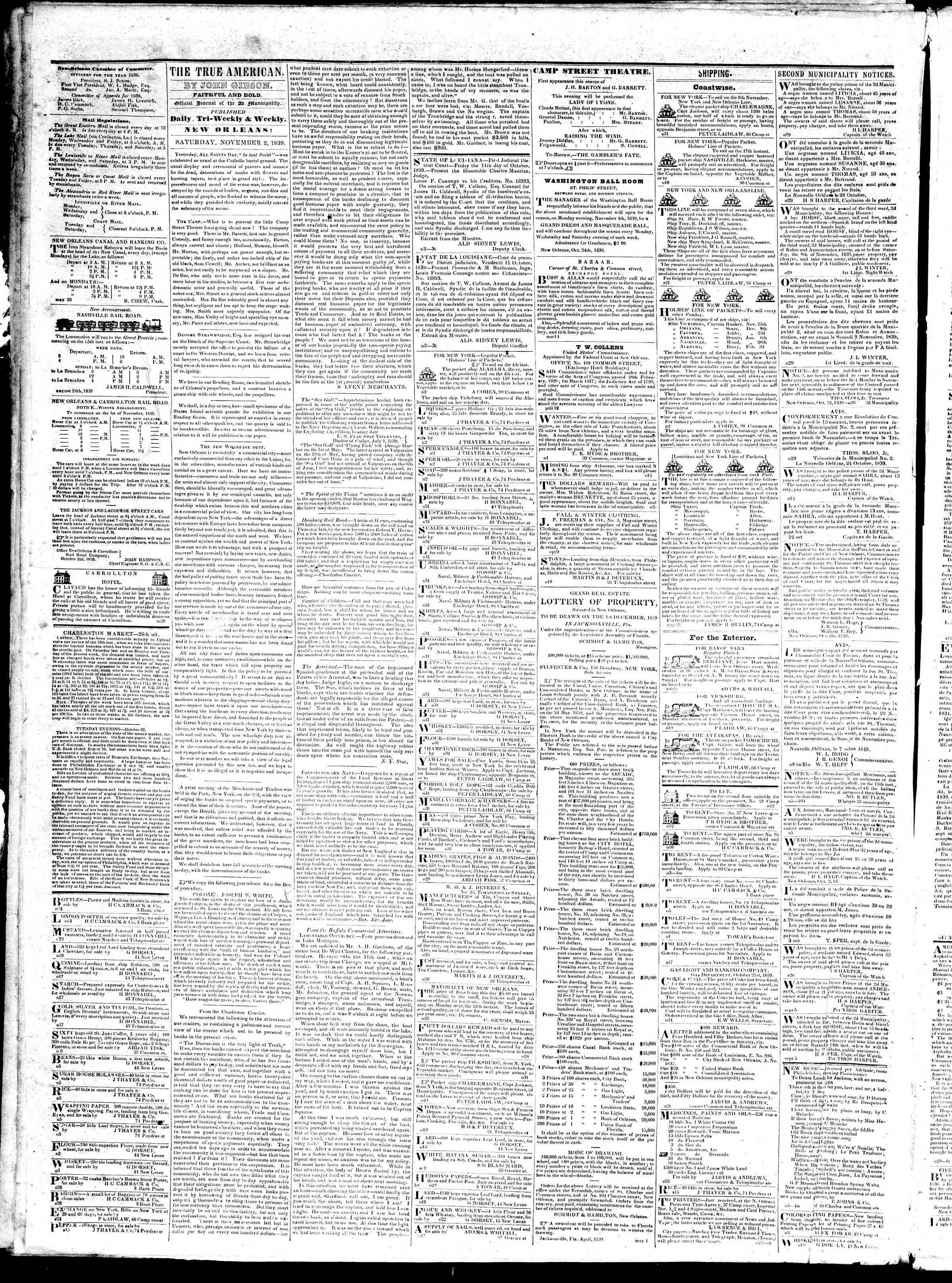 Newspaper of True American dated November 2, 1839 Page 2