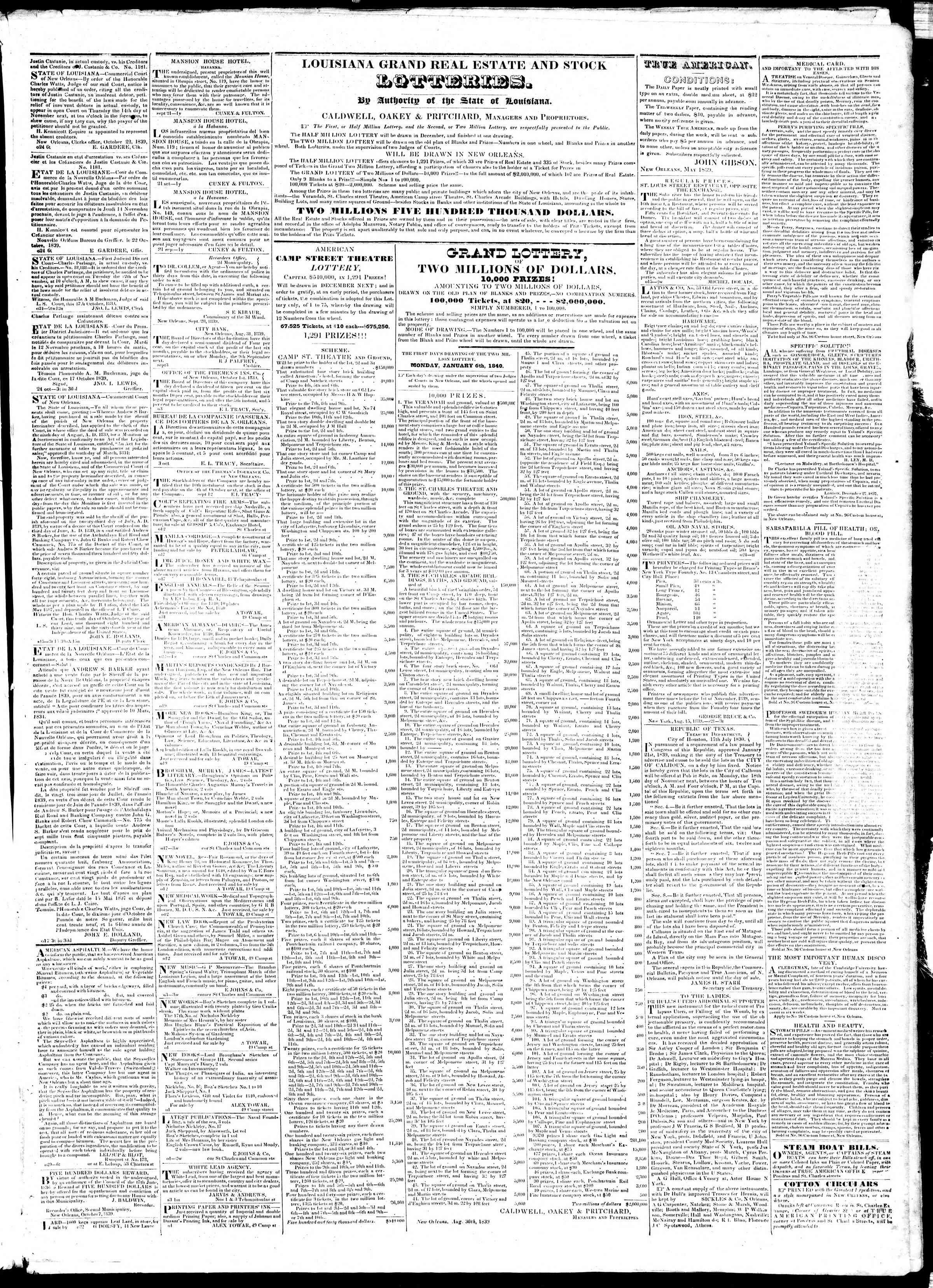 November 2, 1839 Tarihli True American Gazetesi Sayfa 3