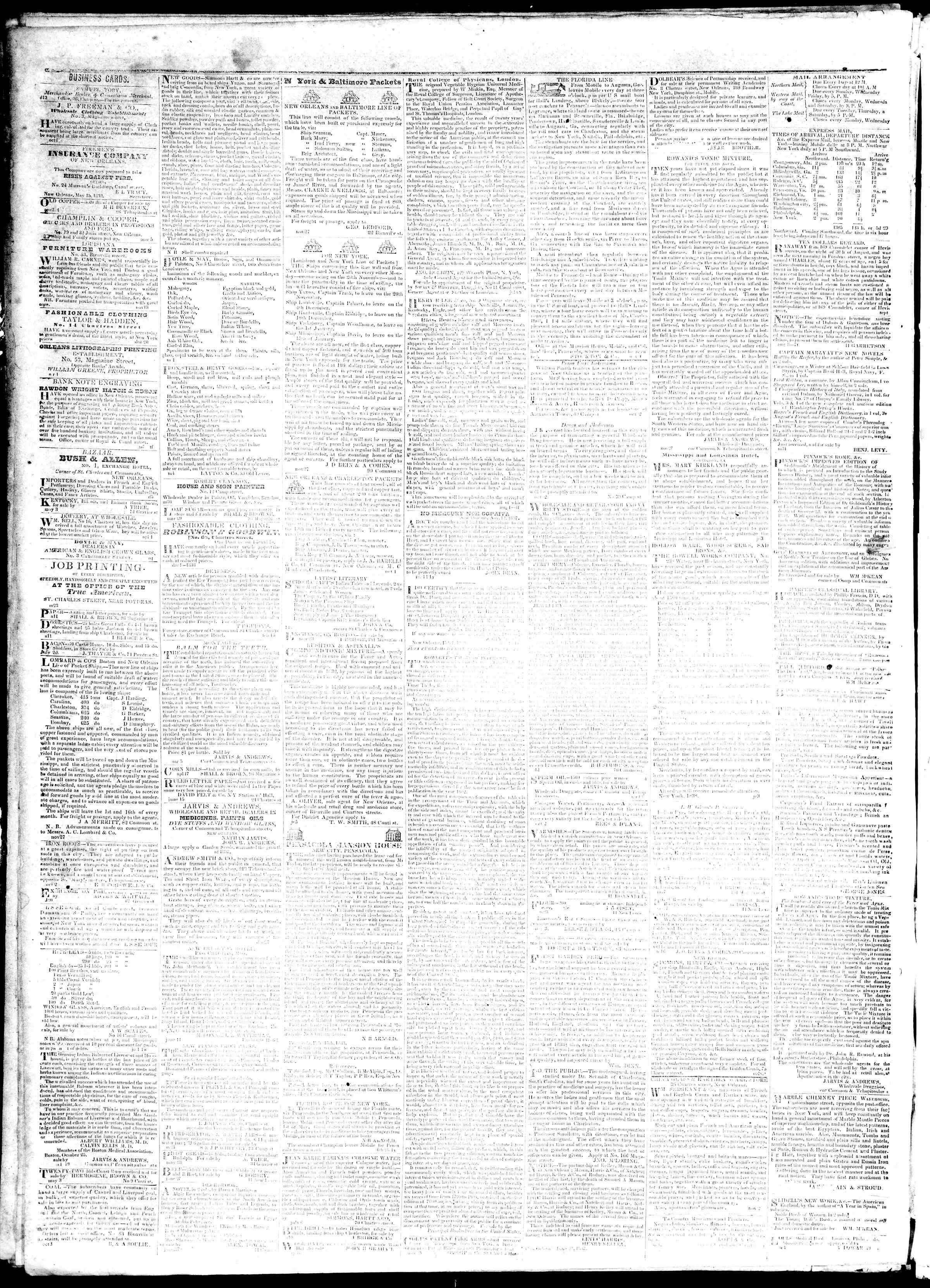 November 2, 1839 Tarihli True American Gazetesi Sayfa 4