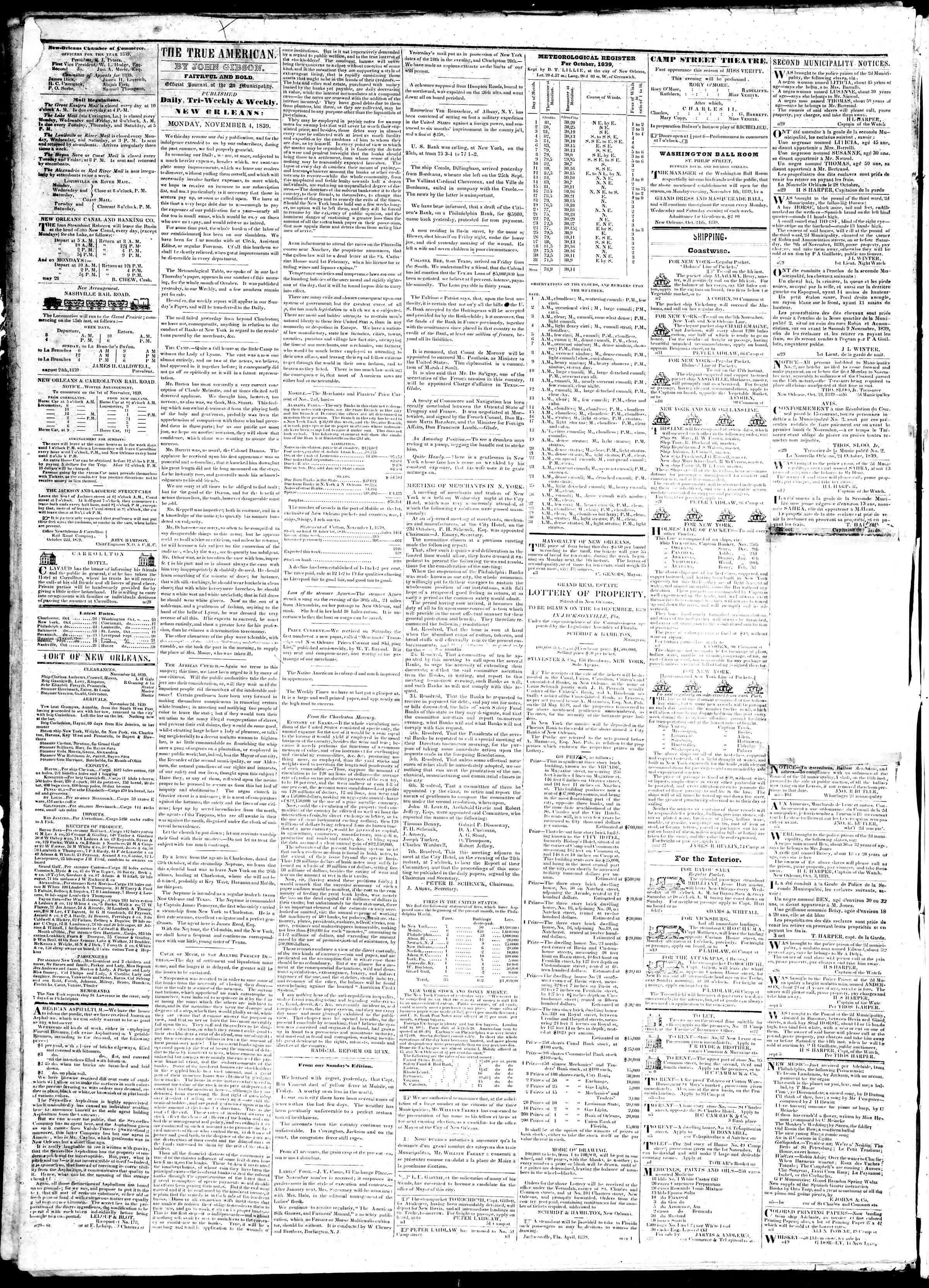 Newspaper of True American dated November 4, 1839 Page 2