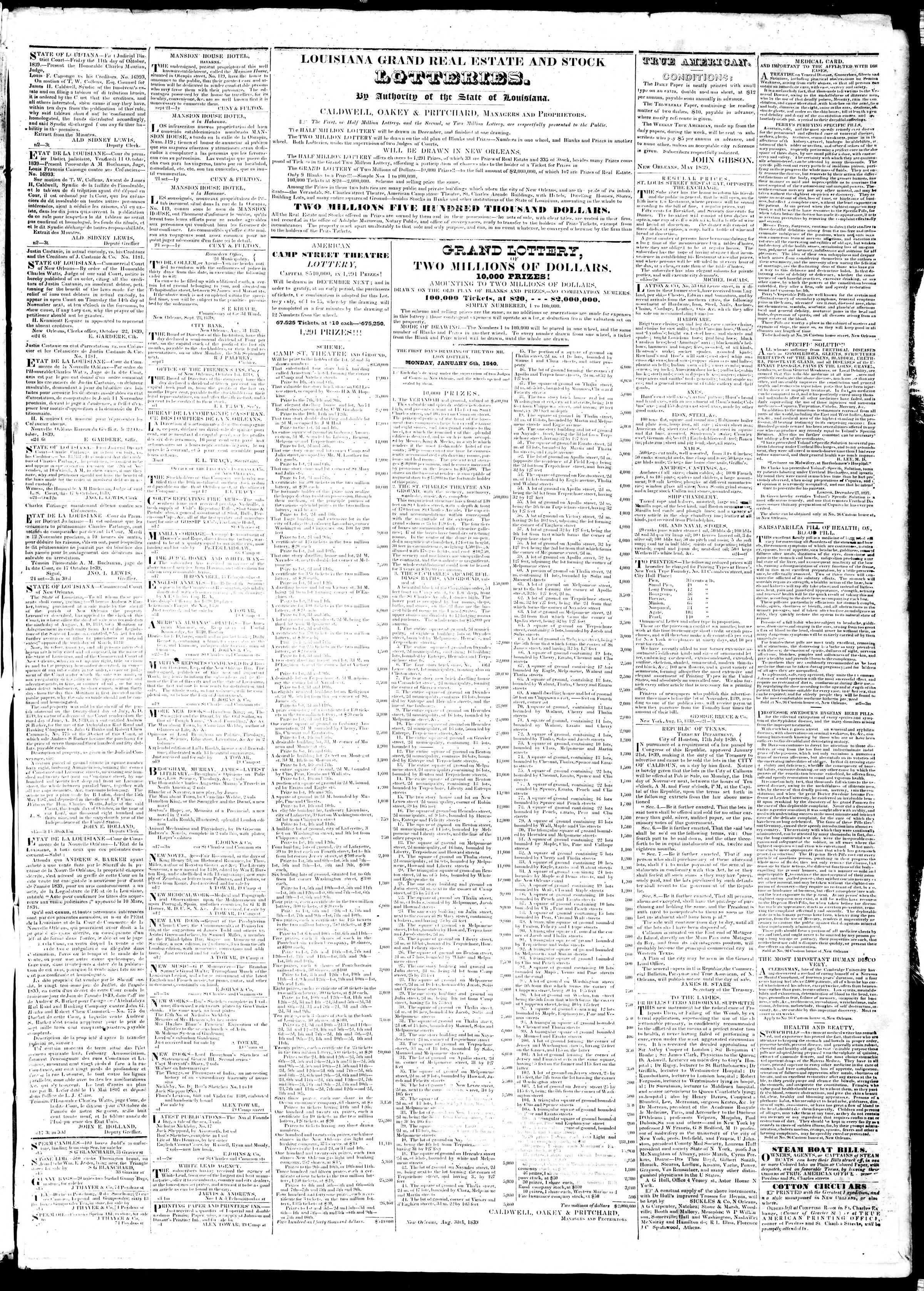 November 4, 1839 Tarihli True American Gazetesi Sayfa 3