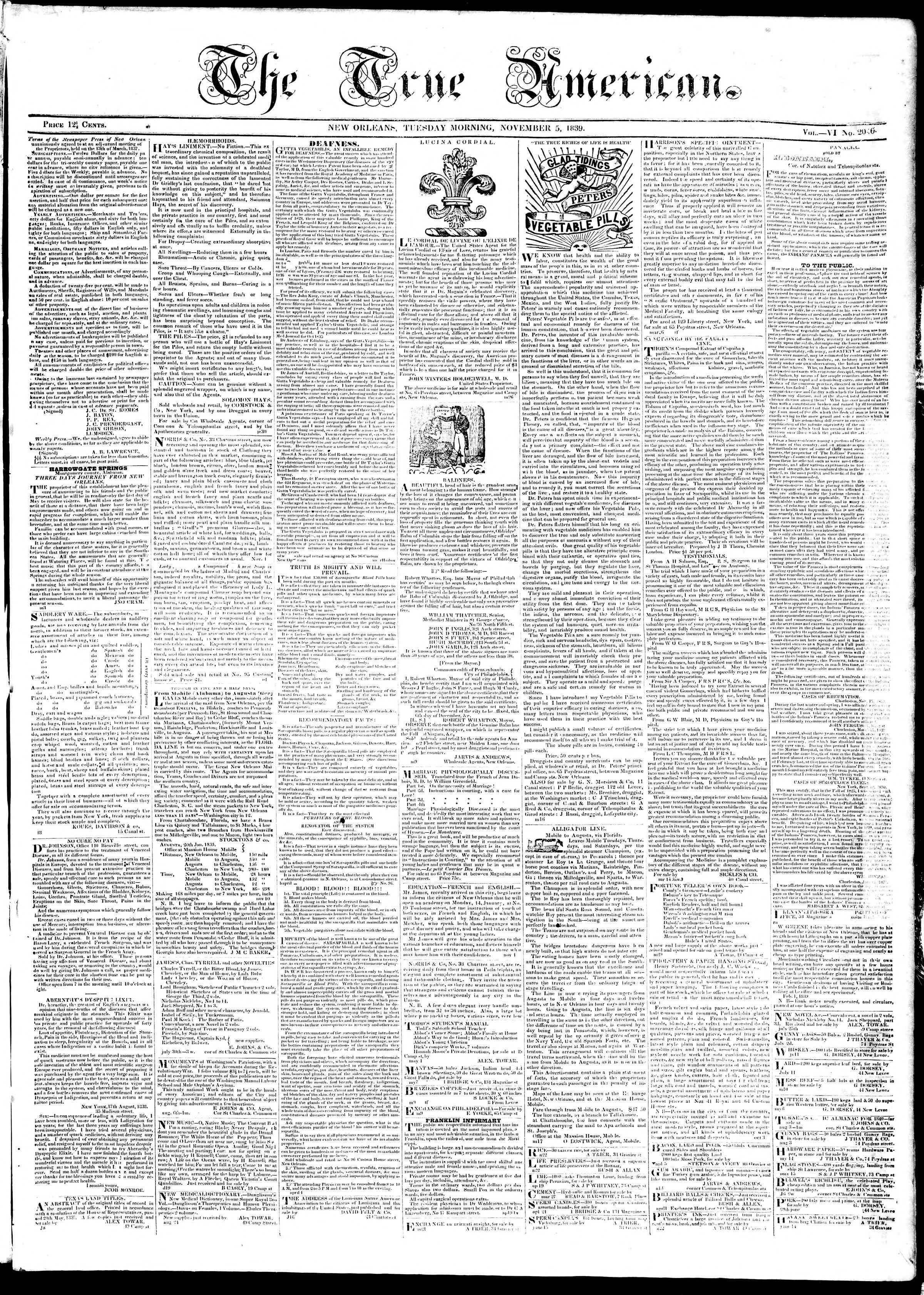 November 5, 1839 Tarihli True American Gazetesi Sayfa 1