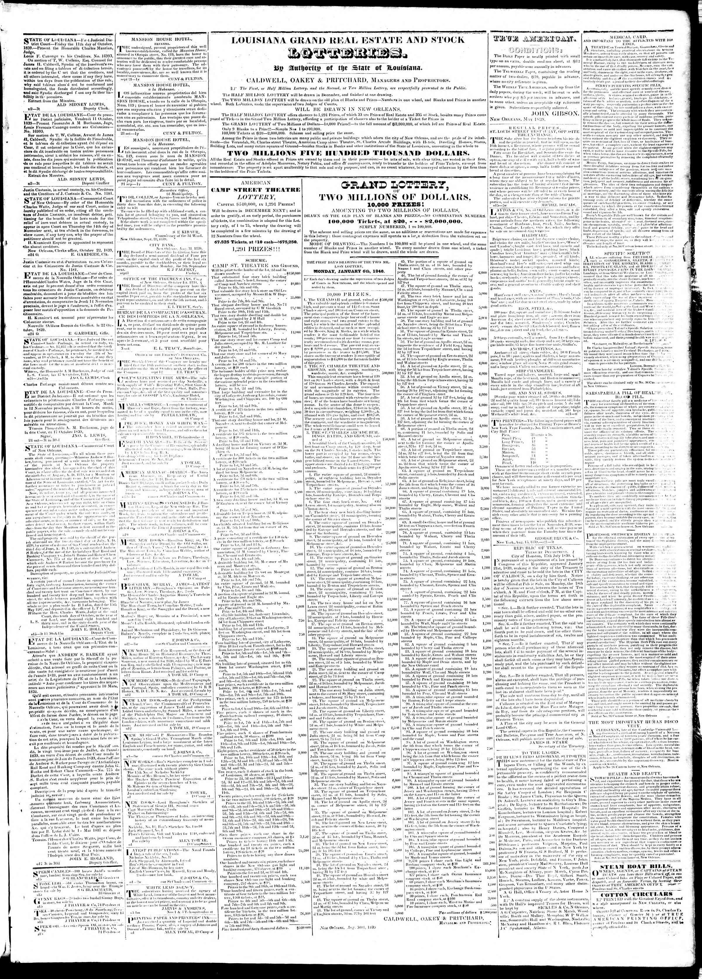 5 Kasım 1839 Tarihli True American Gazetesi Sayfa 3