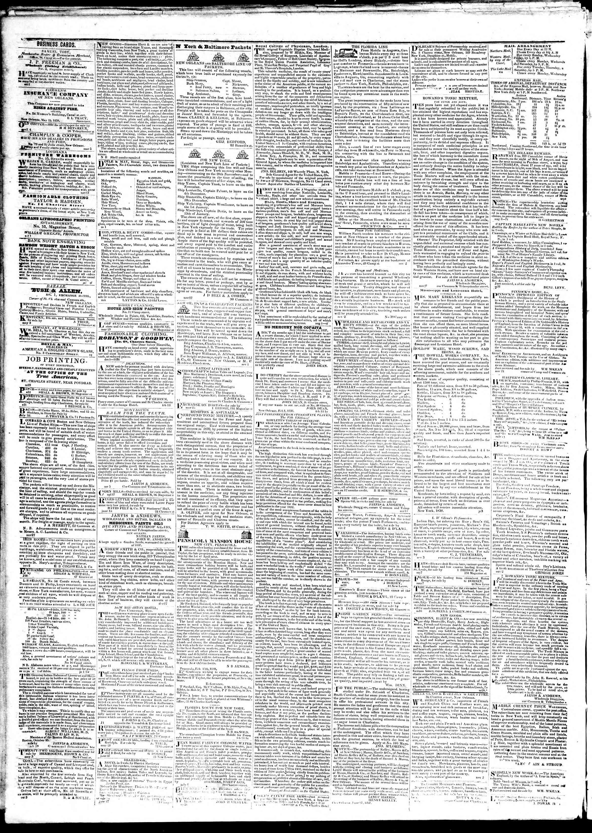 November 5, 1839 Tarihli True American Gazetesi Sayfa 4