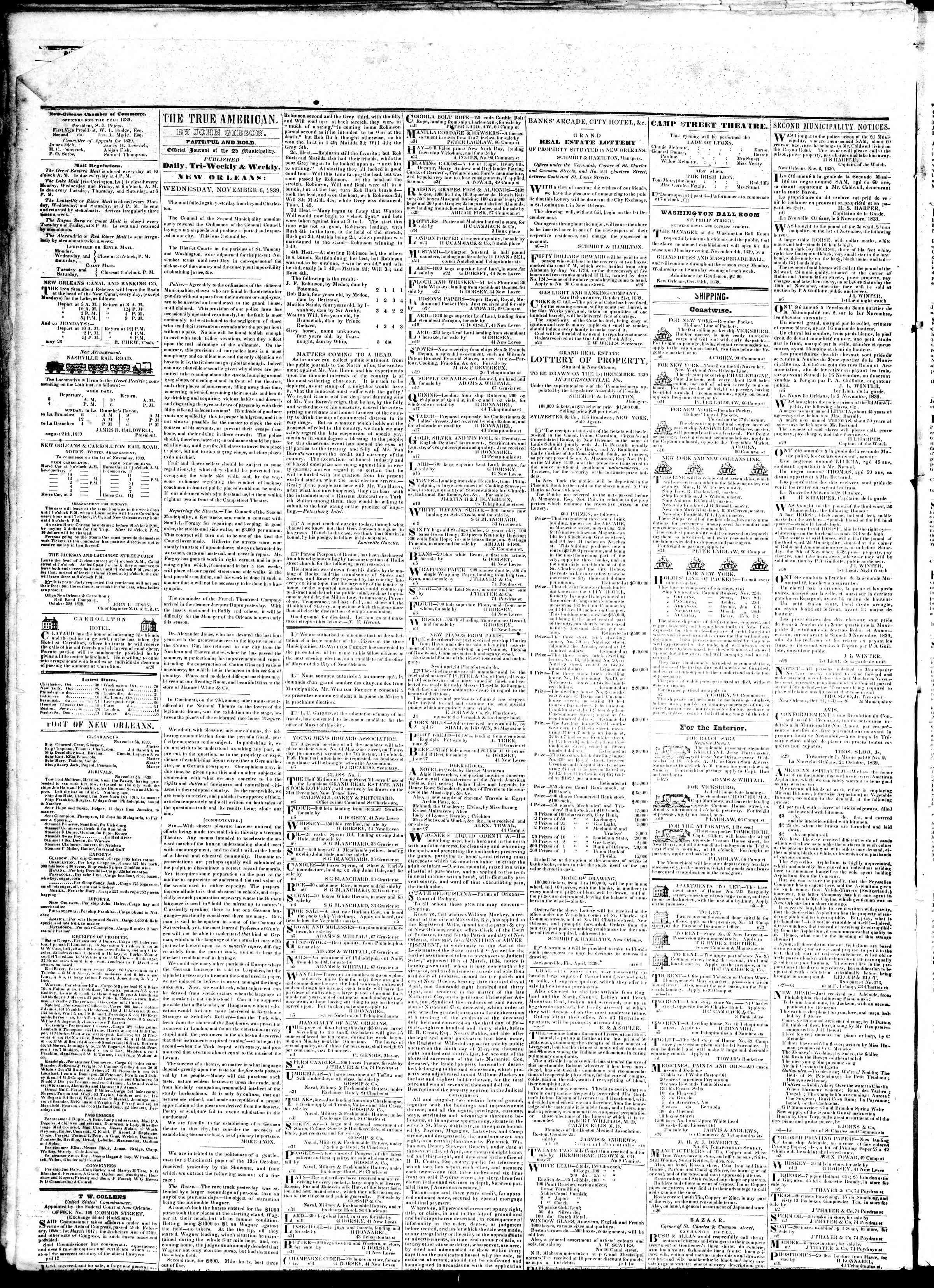 November 5, 1839 Tarihli True American Gazetesi Sayfa 5