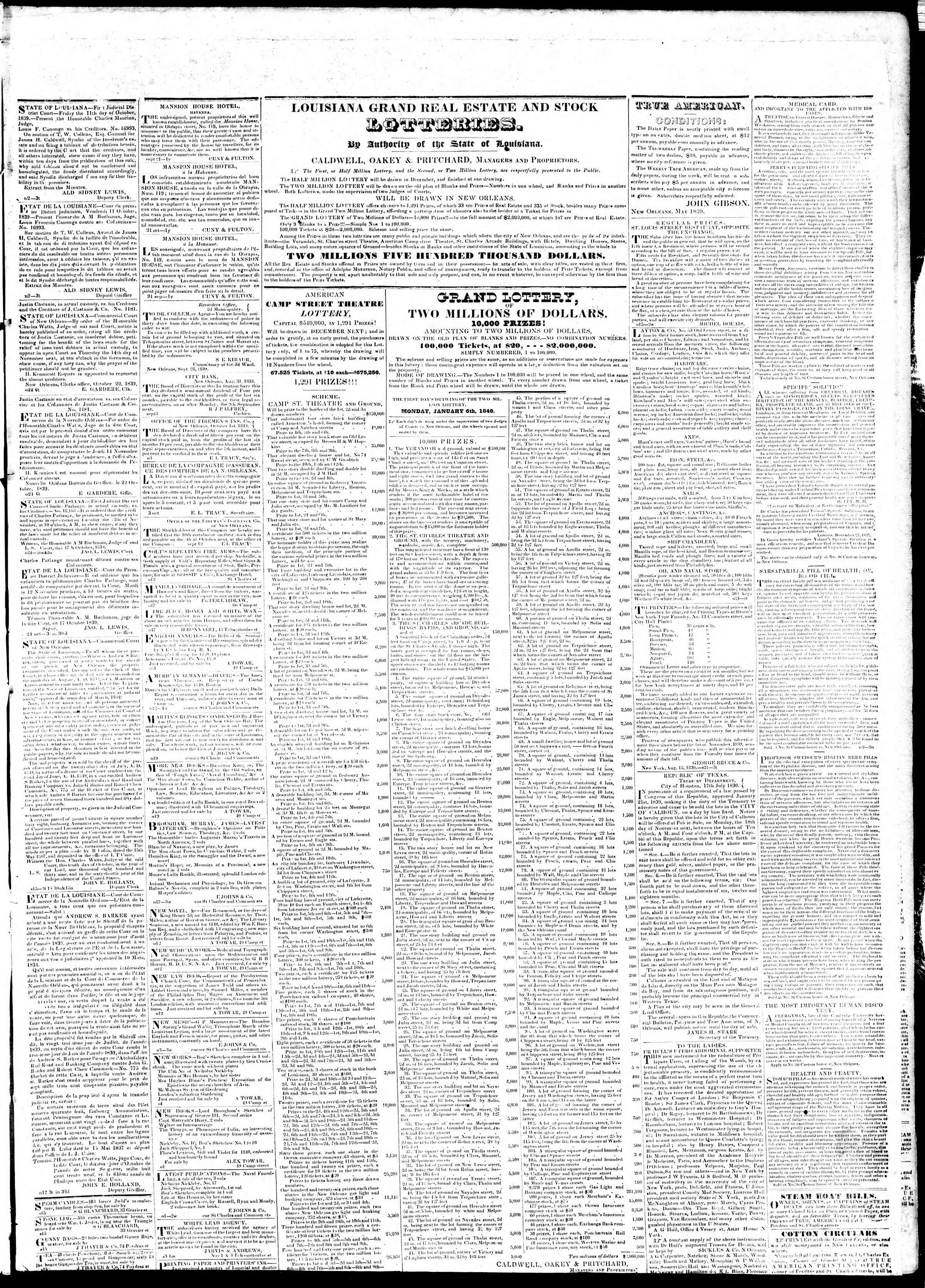 November 5, 1839 Tarihli True American Gazetesi Sayfa 6