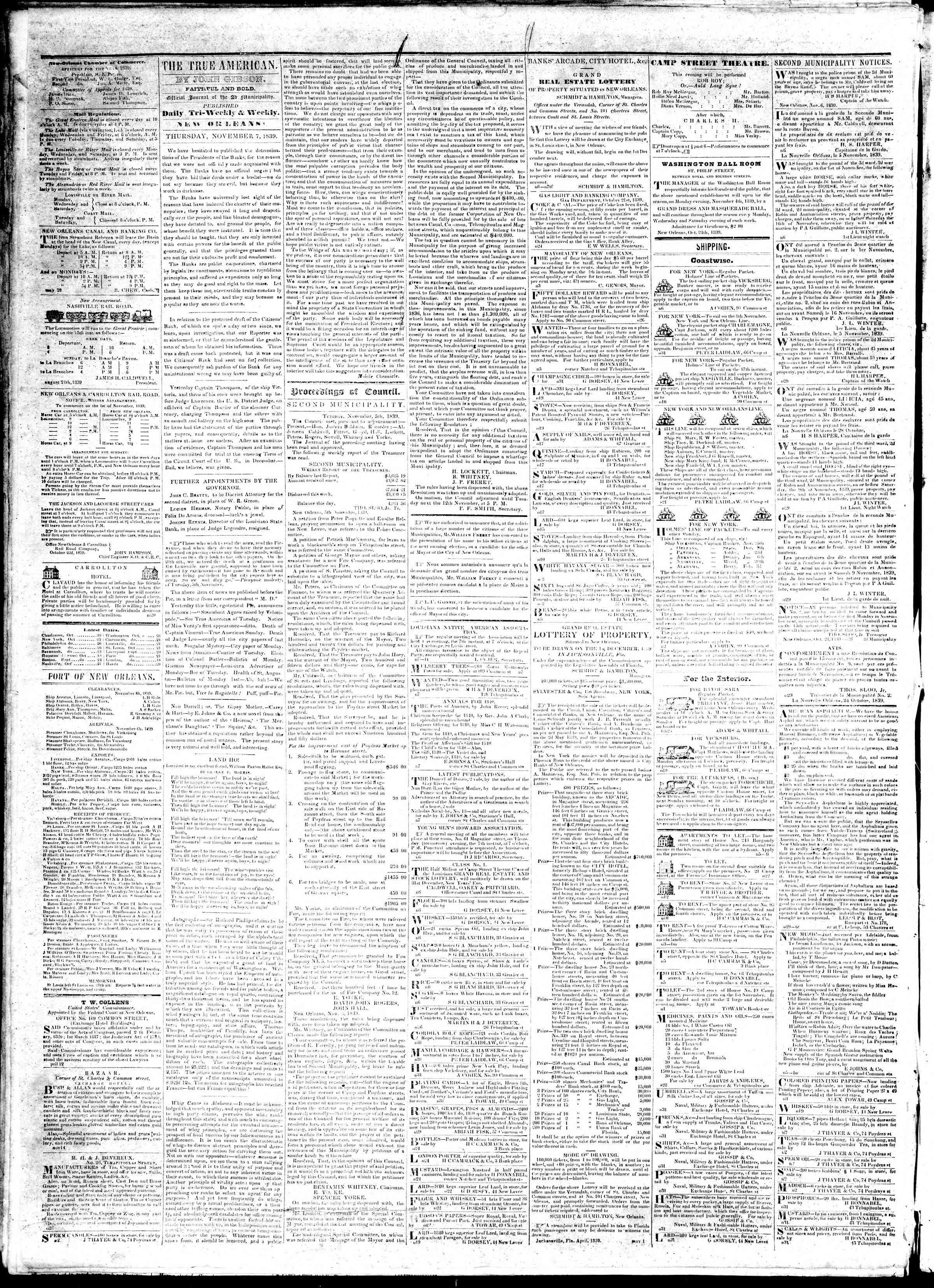 November 7, 1839 Tarihli True American Gazetesi Sayfa 2