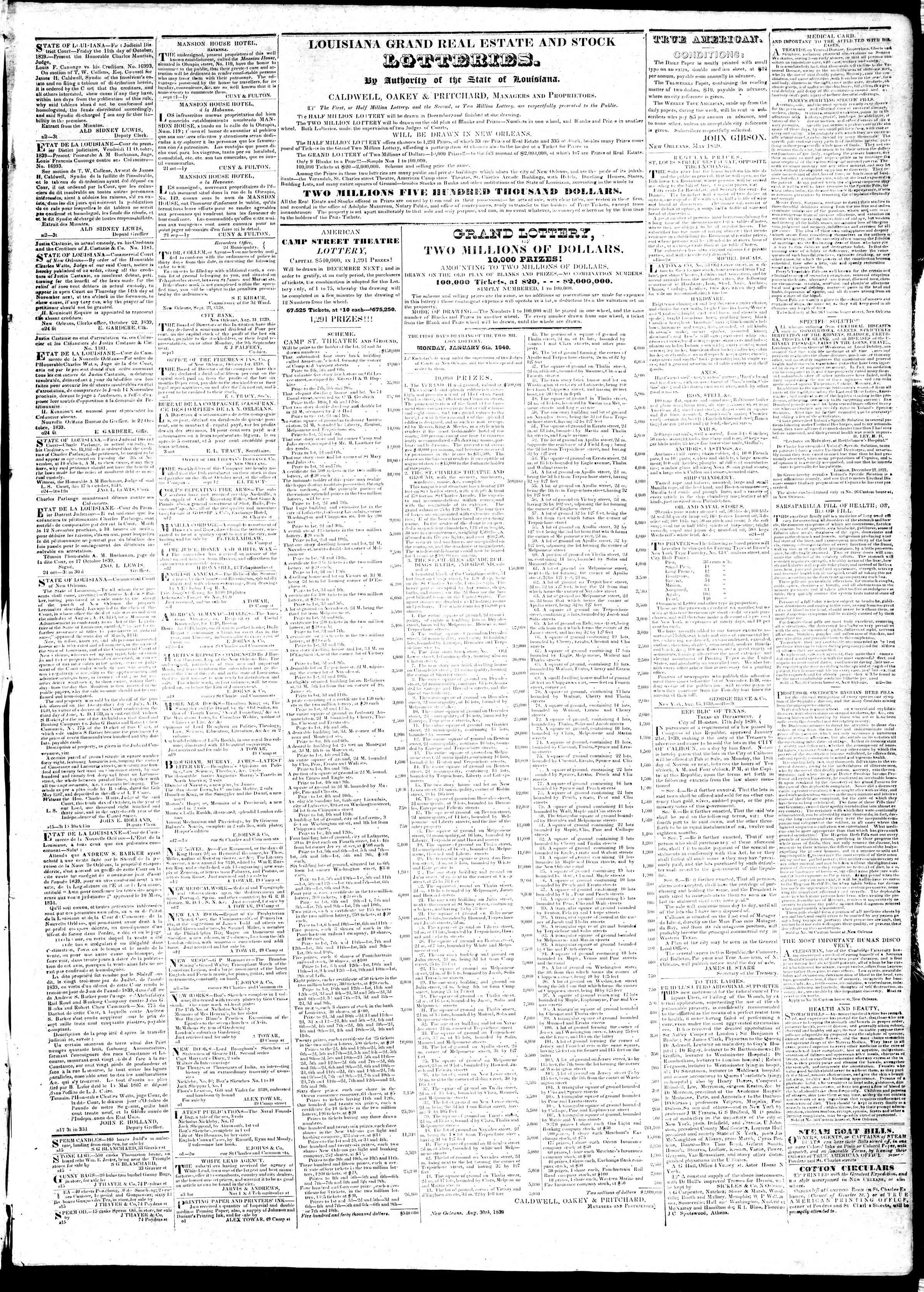 Newspaper of True American dated November 7, 1839 Page 3
