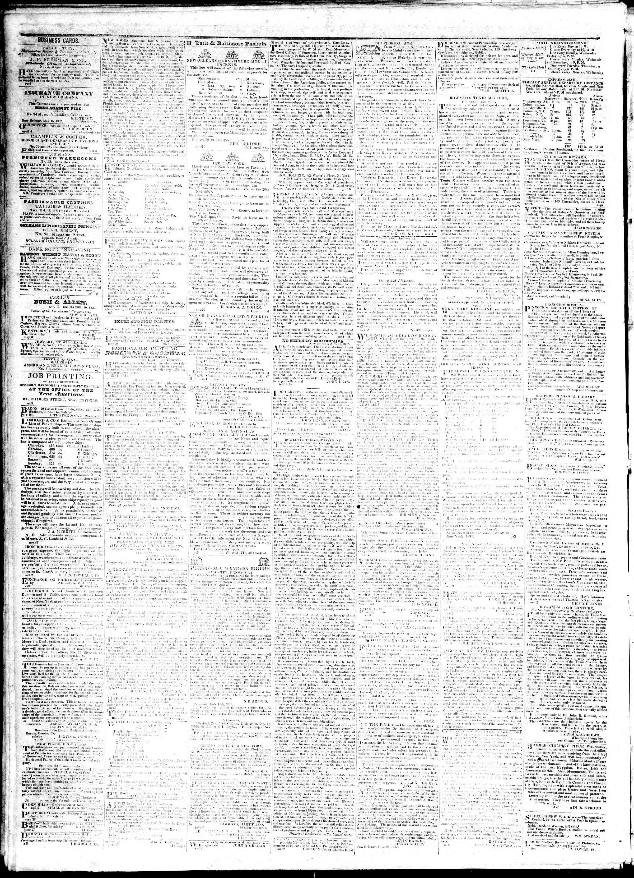 November 7, 1839 Tarihli True American Gazetesi Sayfa 4
