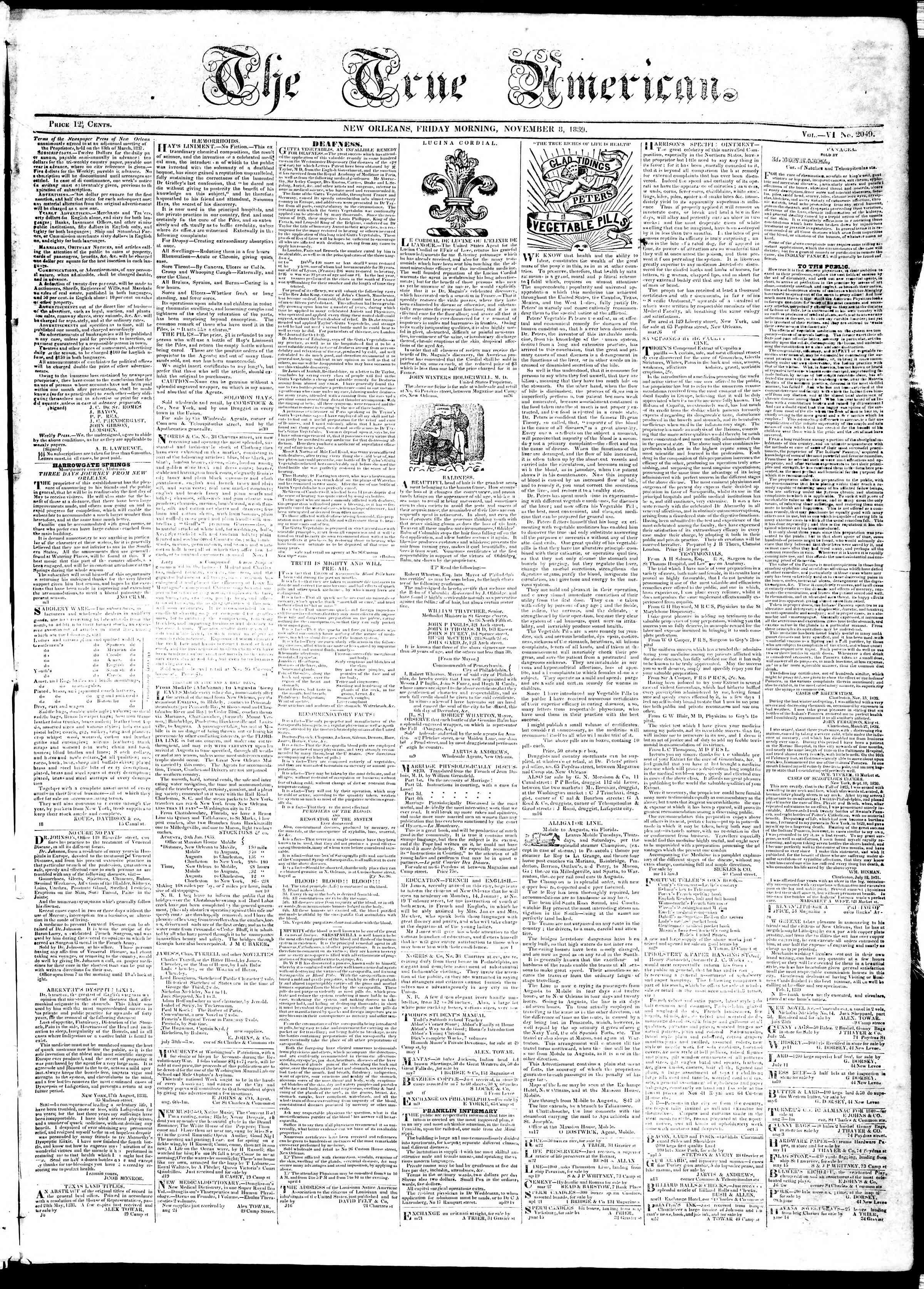 November 8, 1839 Tarihli True American Gazetesi Sayfa 1