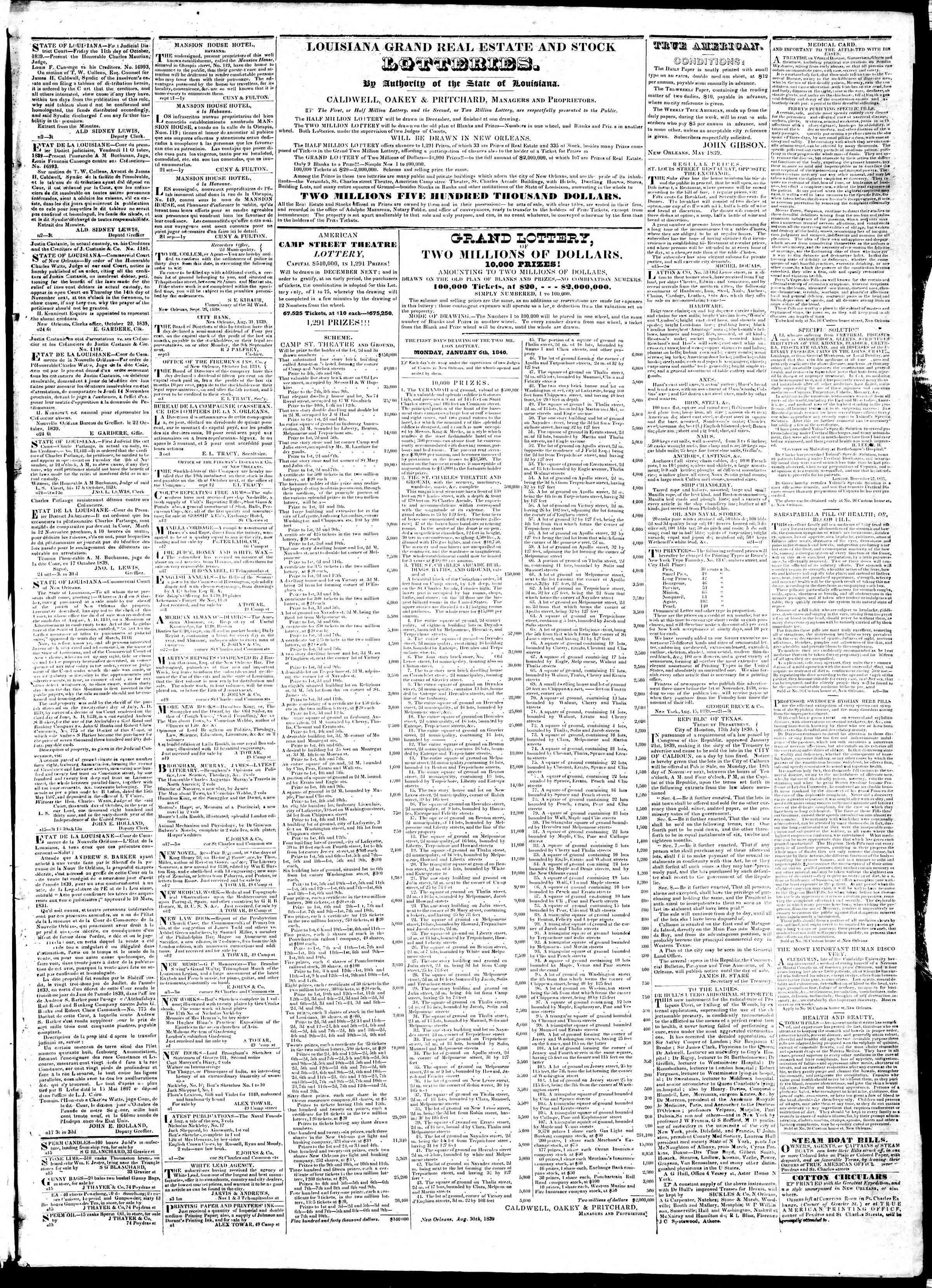 November 8, 1839 Tarihli True American Gazetesi Sayfa 3