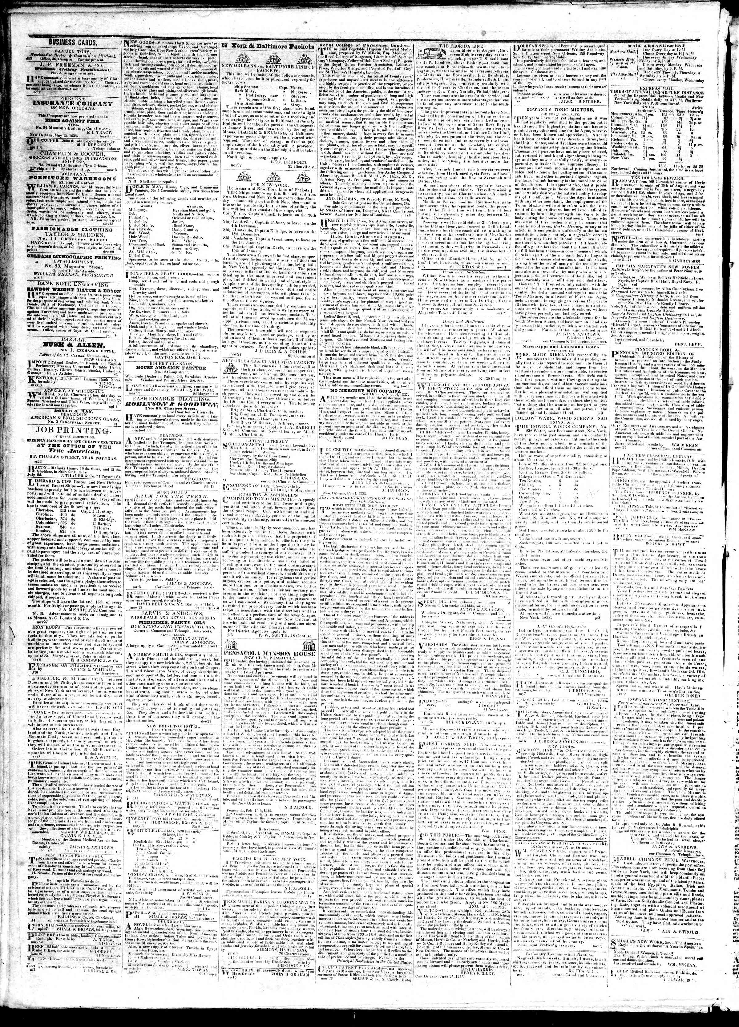 Newspaper of True American dated November 8, 1839 Page 4