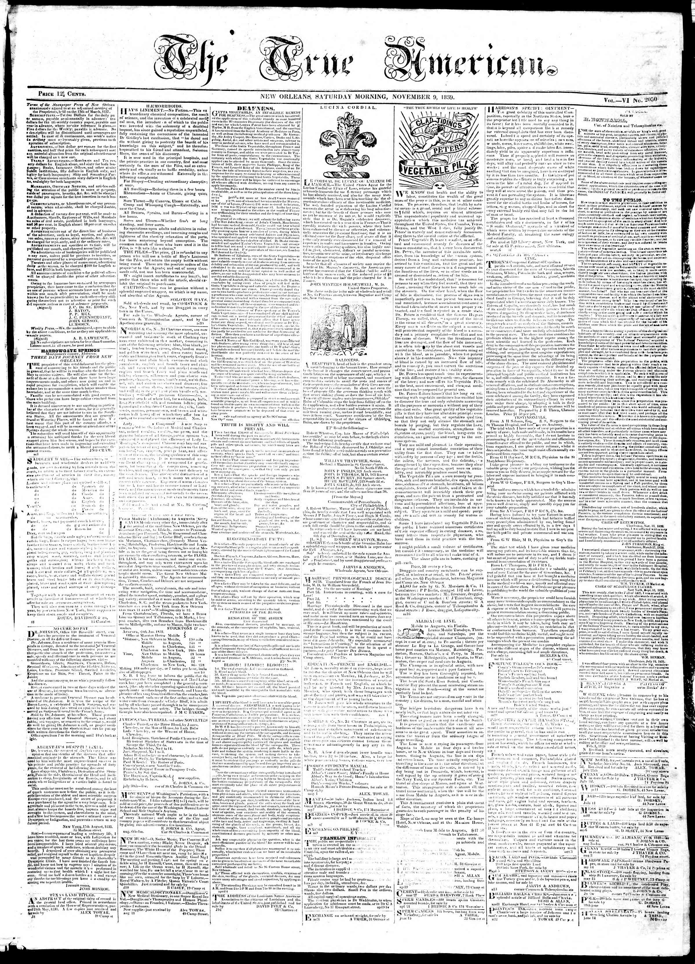 November 9, 1839 Tarihli True American Gazetesi Sayfa 1