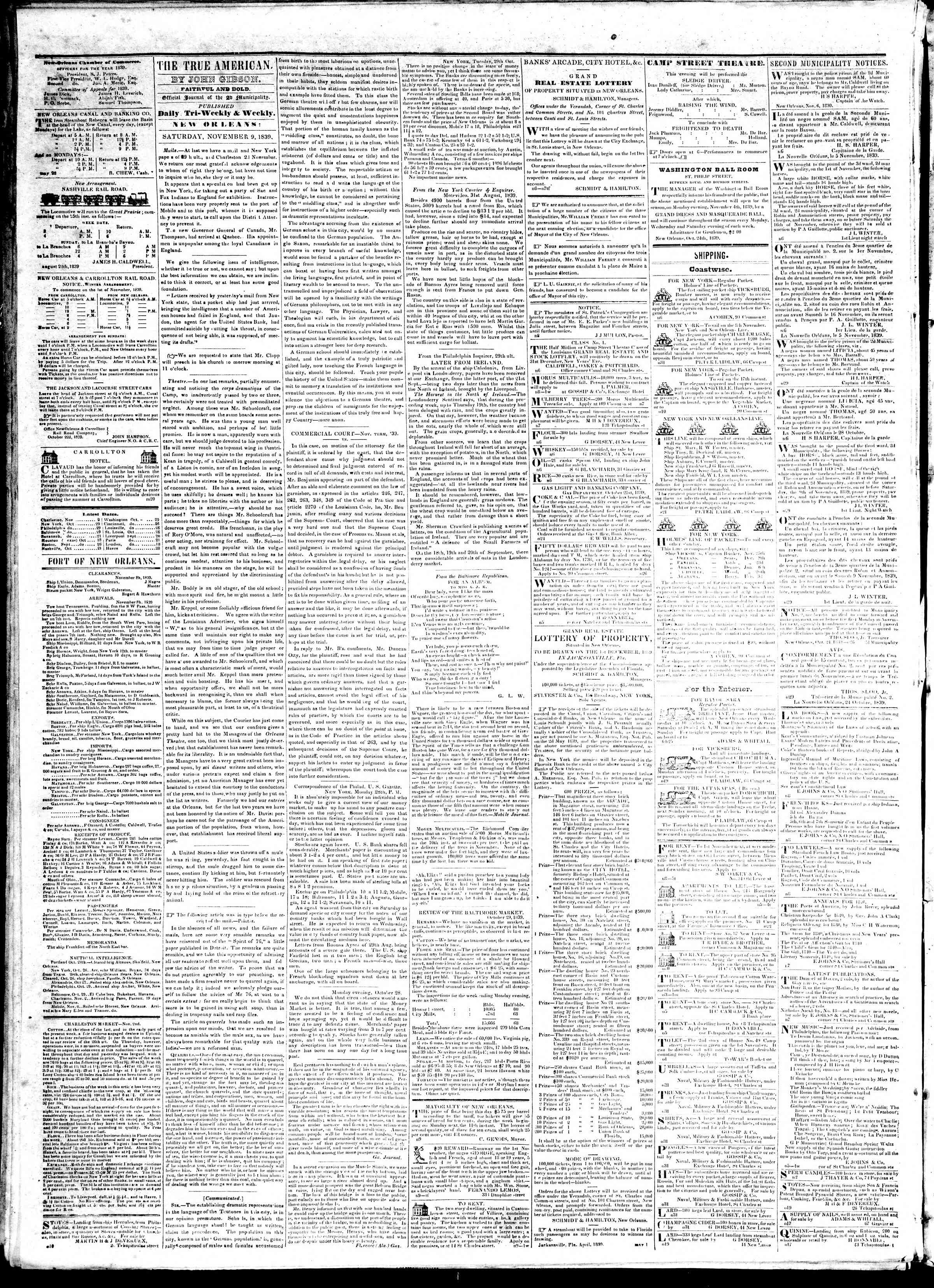 November 9, 1839 Tarihli True American Gazetesi Sayfa 2