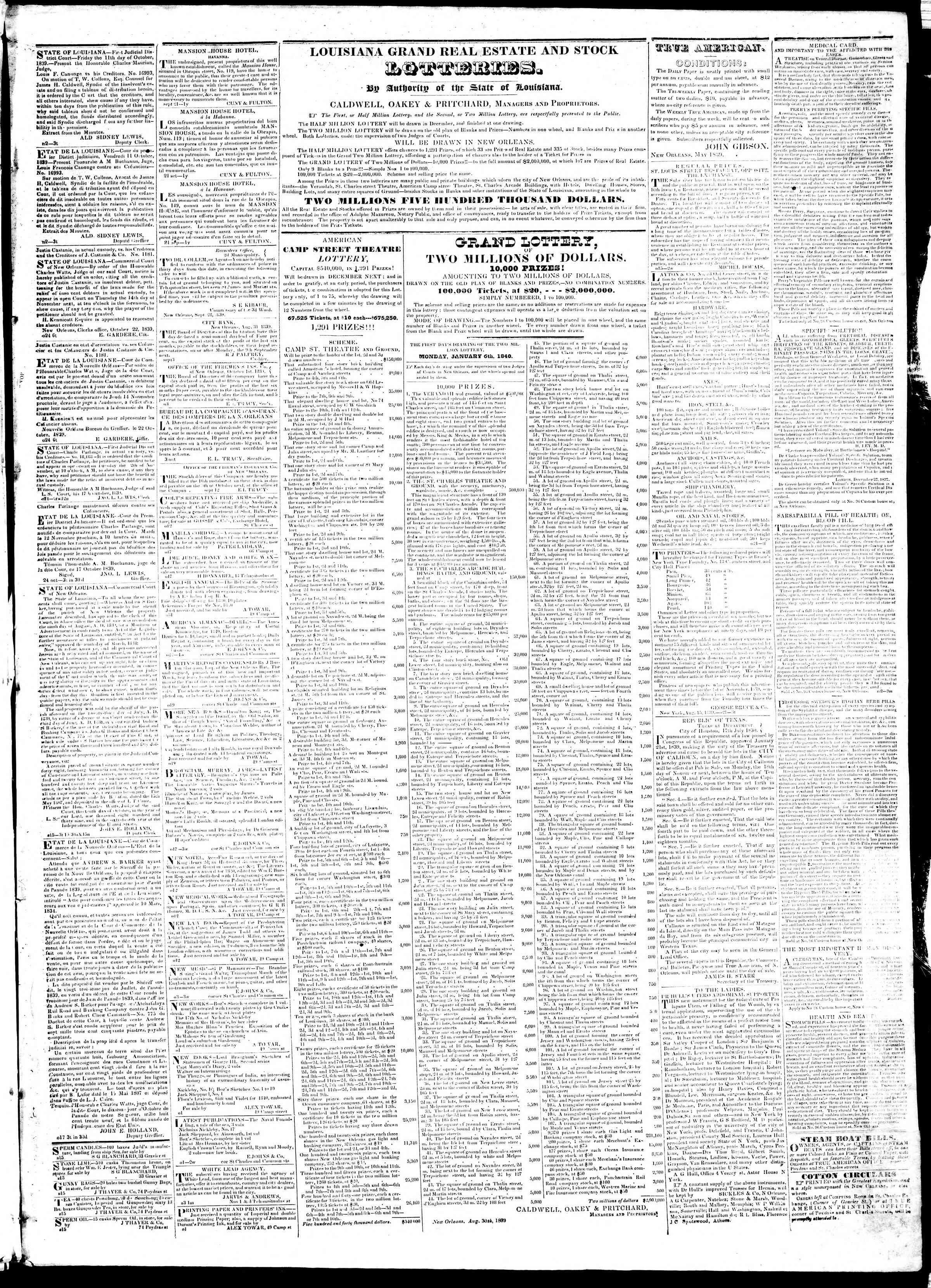 Newspaper of True American dated November 9, 1839 Page 3